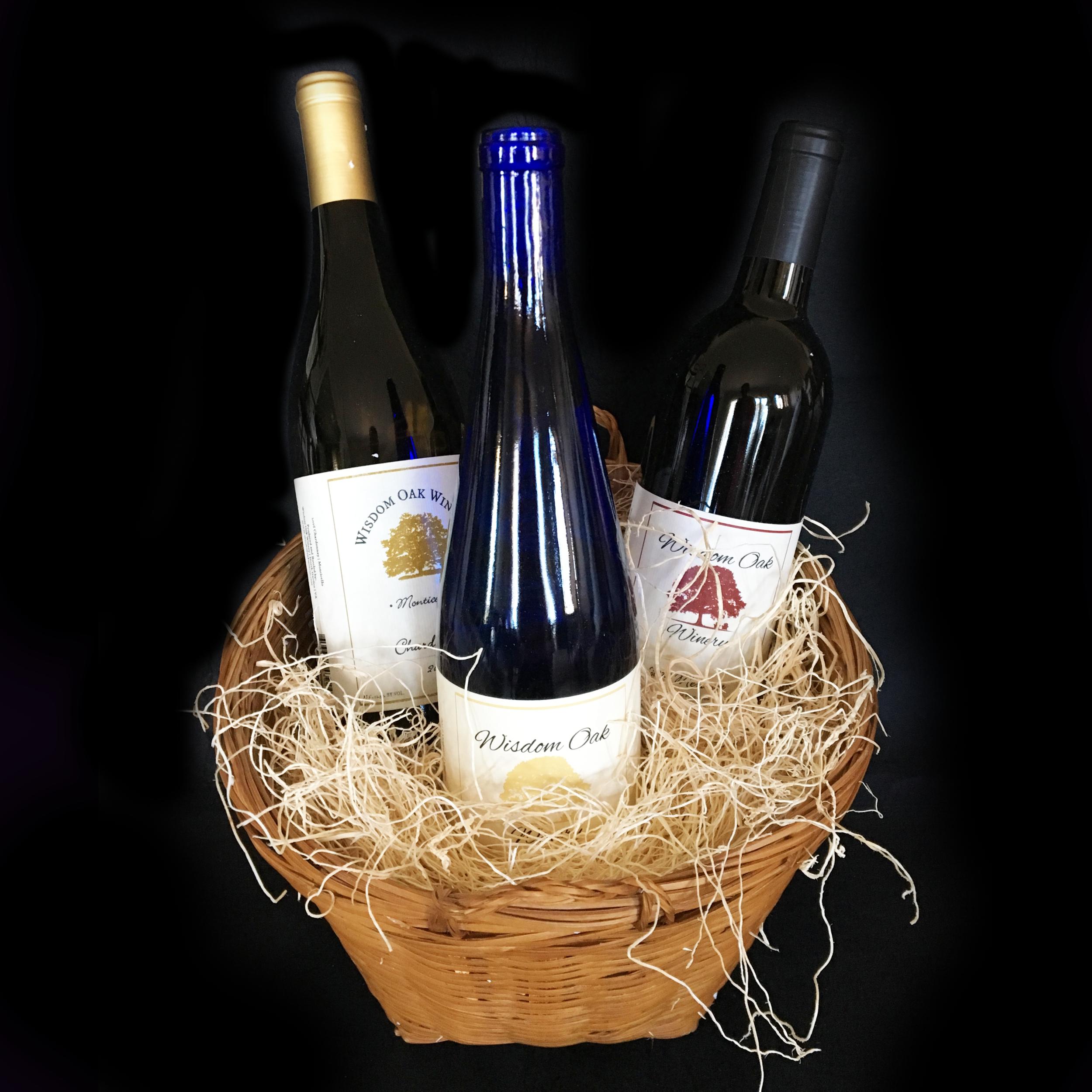 Wisdom Oaks Basket - Three Bottles of Assorted Wine