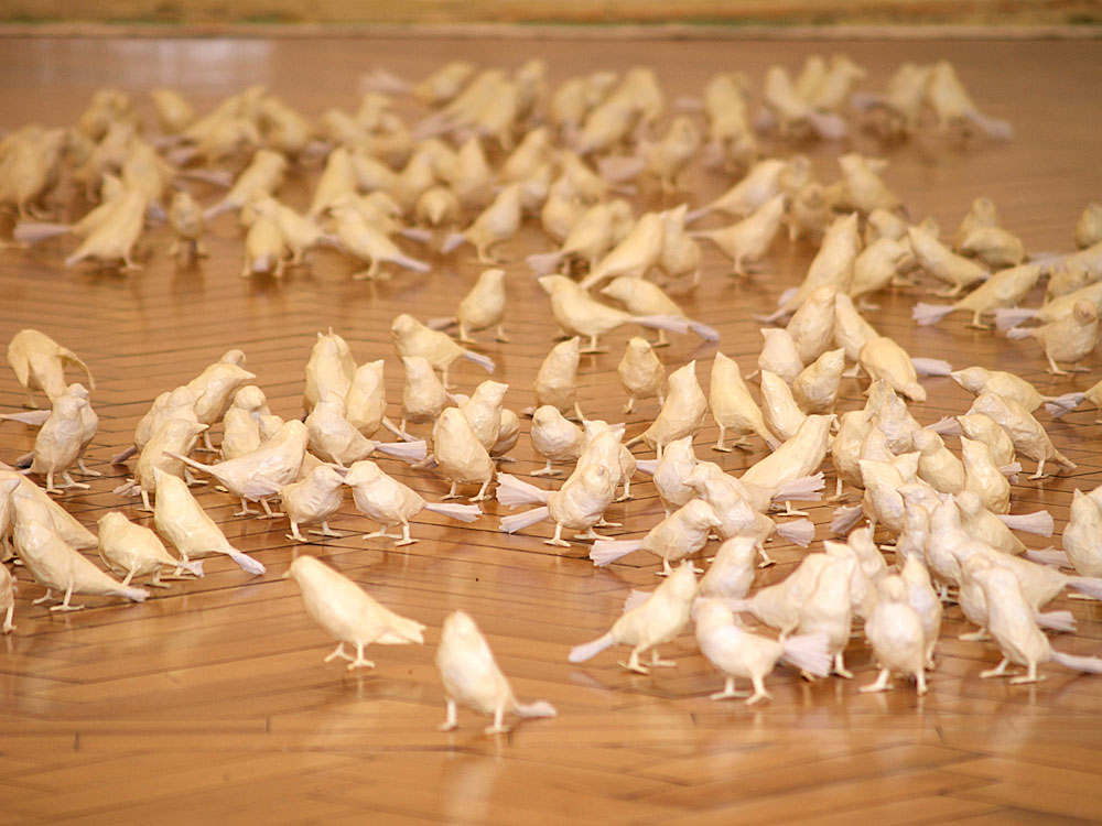 Installation of 100 paper sparrows: 'Where Have All The Sparrows Gone""