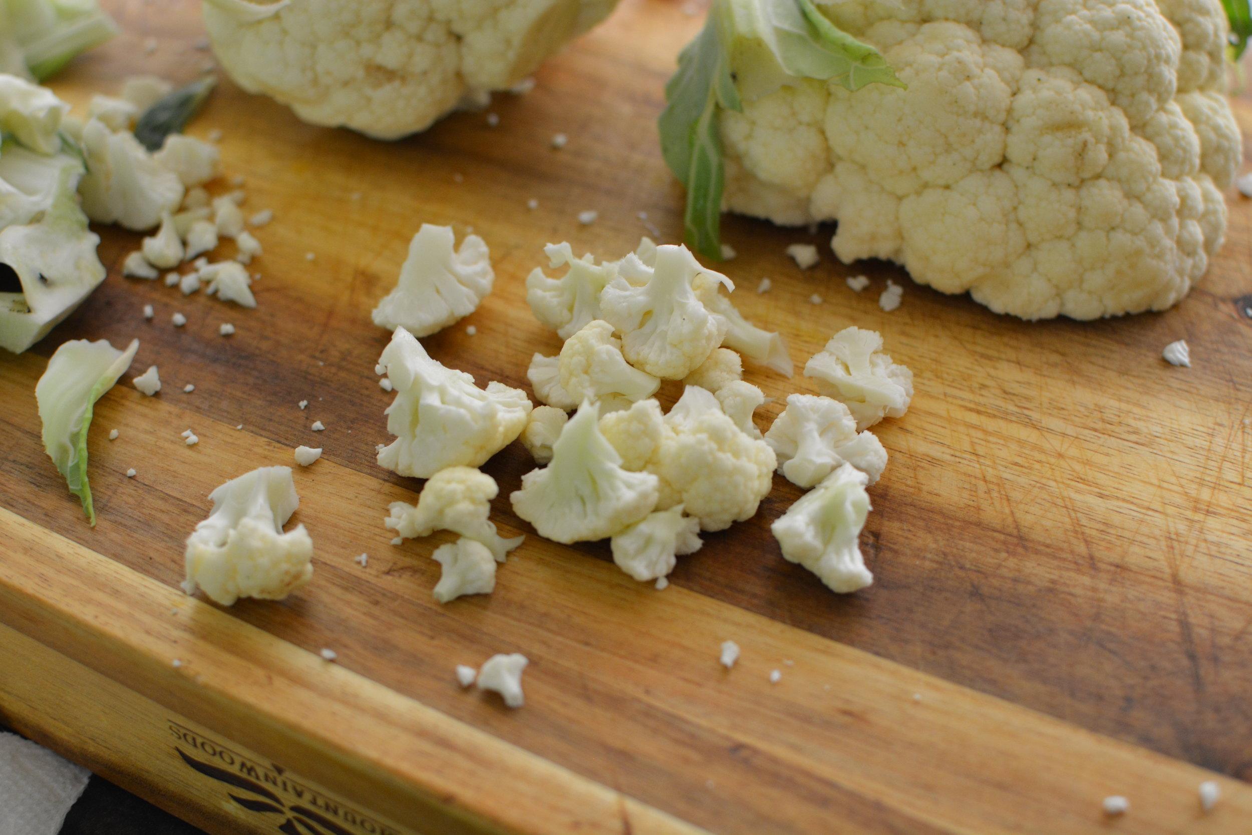 chopped cauliflower for cauliflower rice