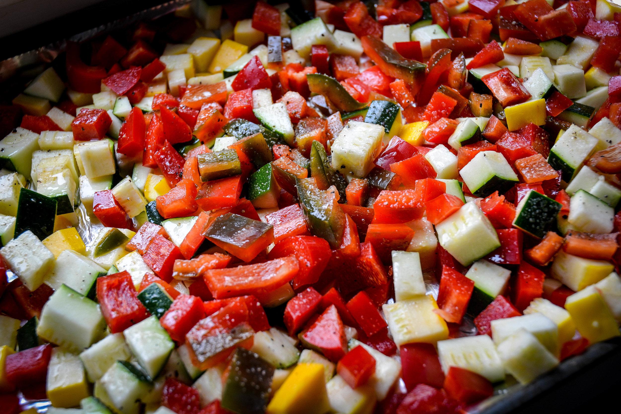cut up meal prep veggies