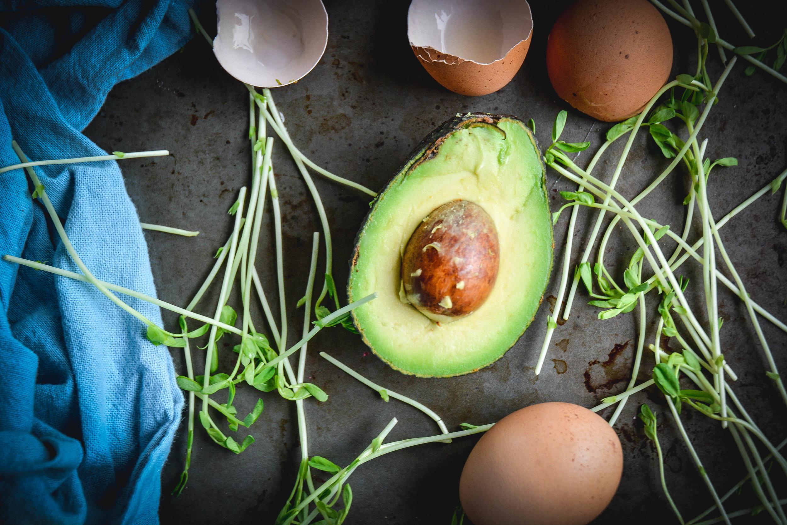 avocado, greens and egg shells
