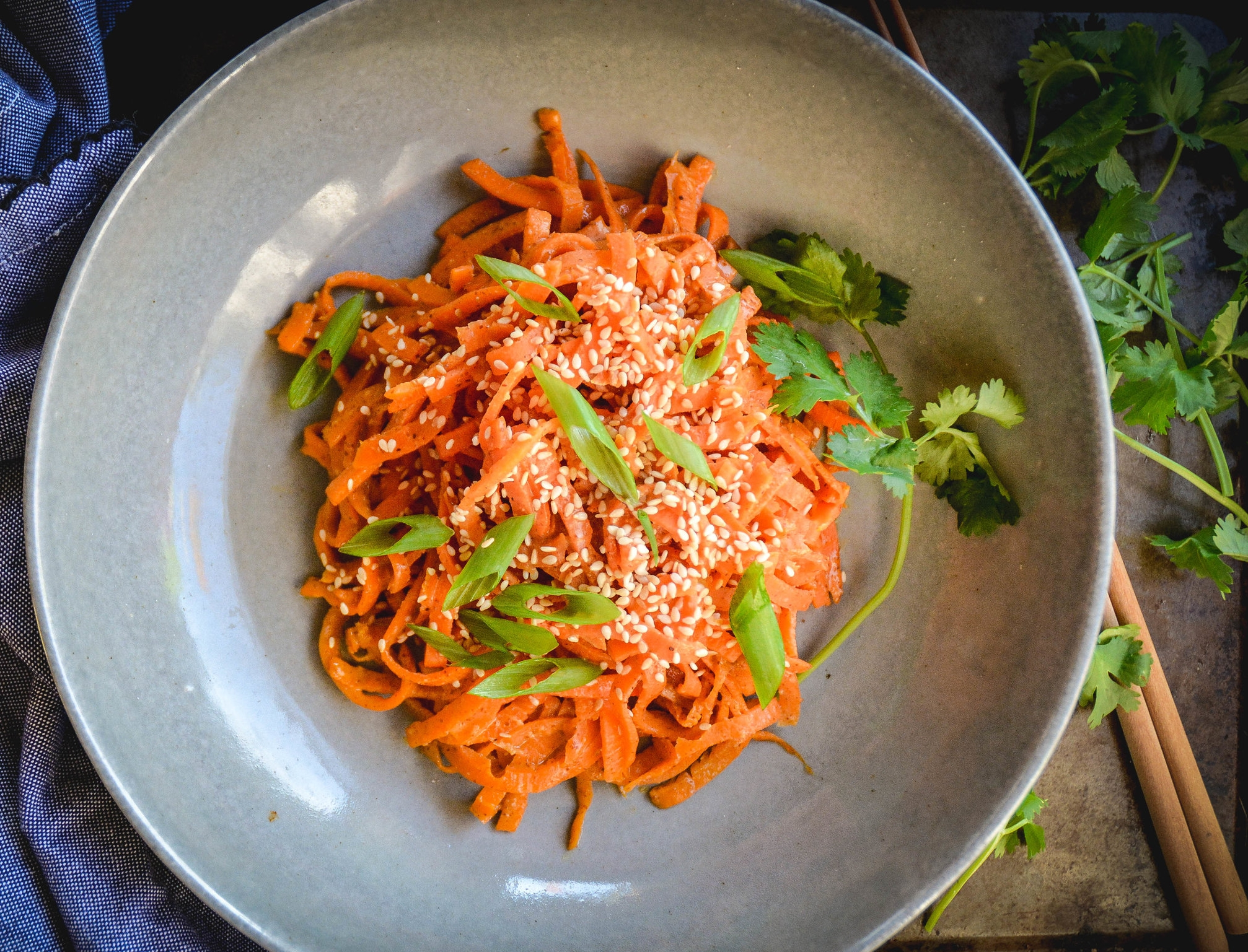 carrot noodles with almond sesame sauce