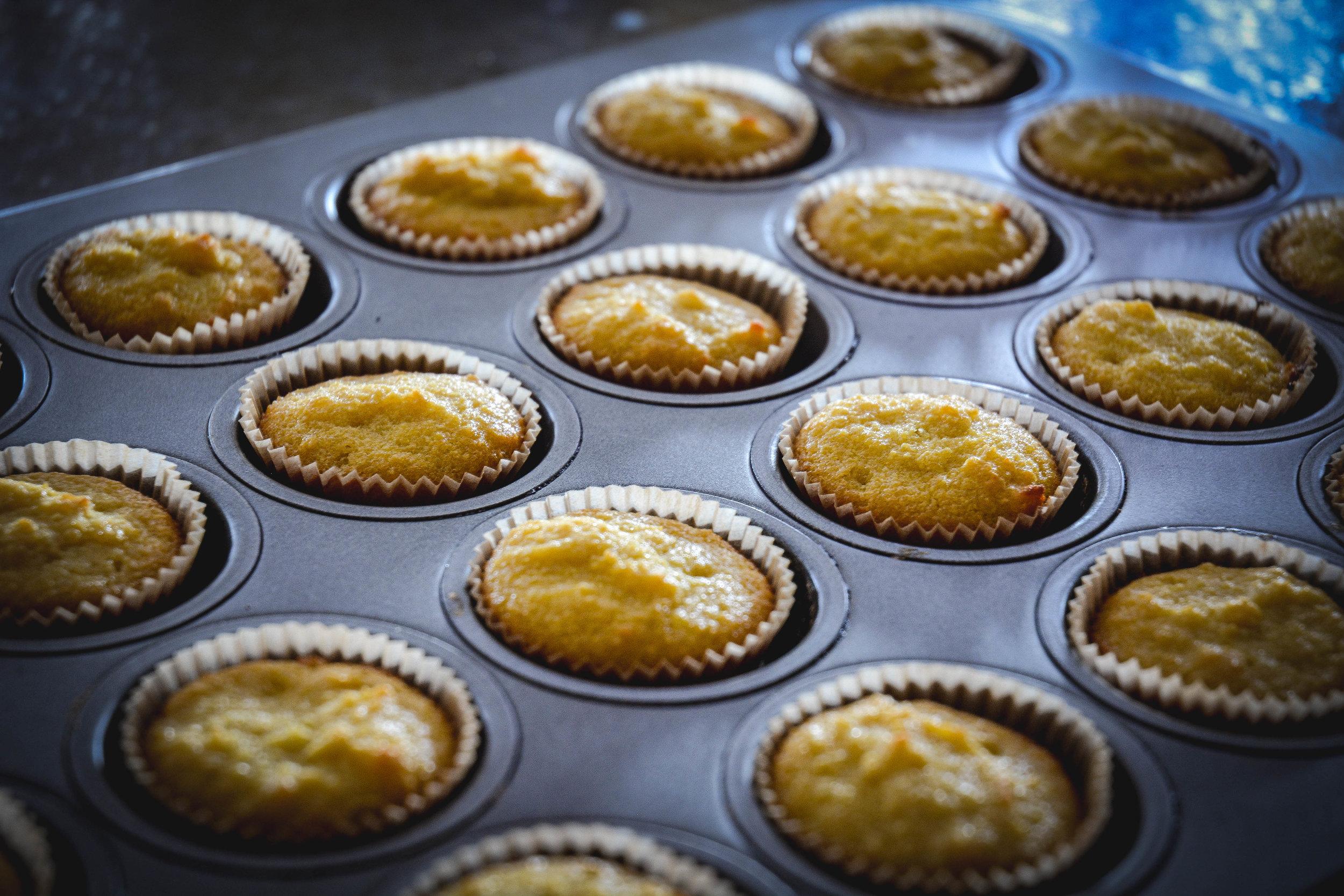 paleo coconut cupcakes in tin