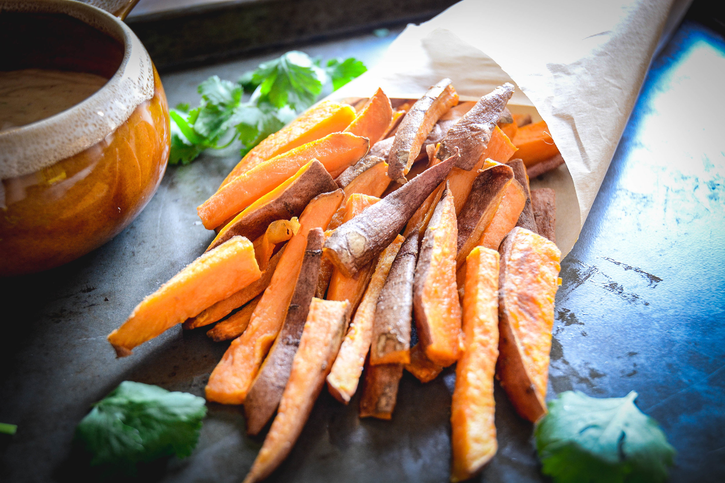 sweet potato fries in parchment paper