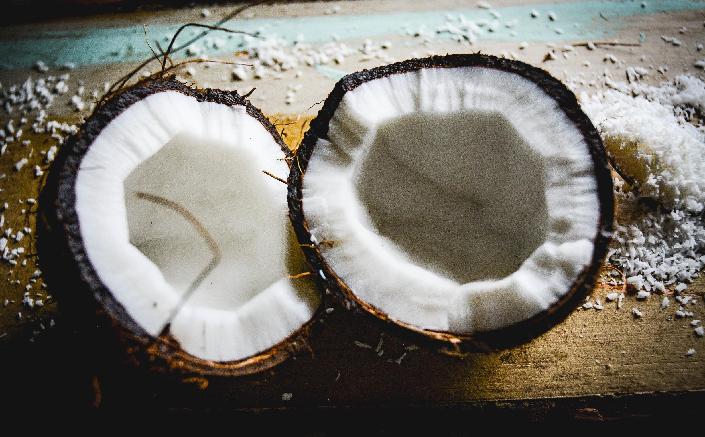 two coconut halves