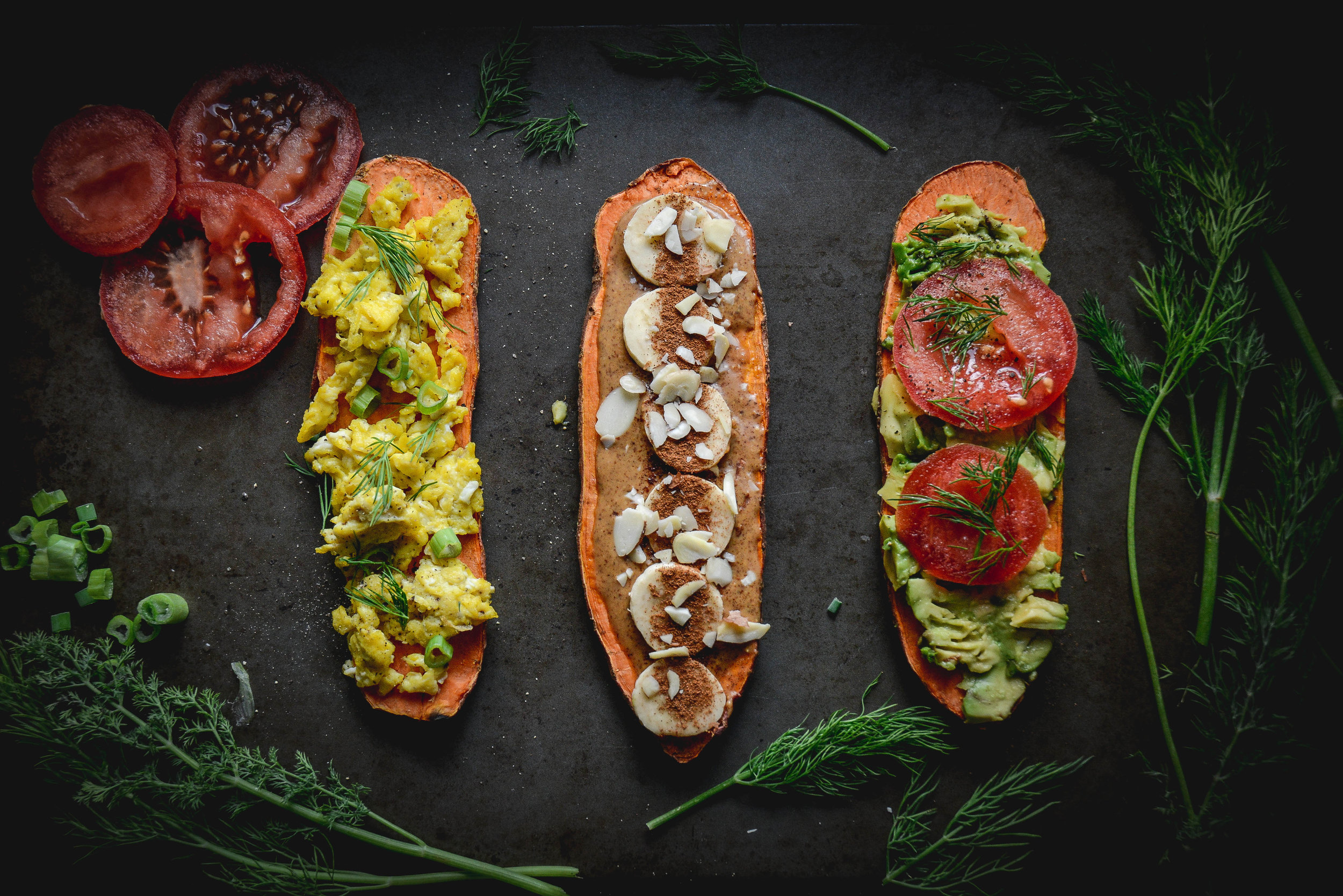 sweet potato toast with egg, one with almond butter and one with avocado