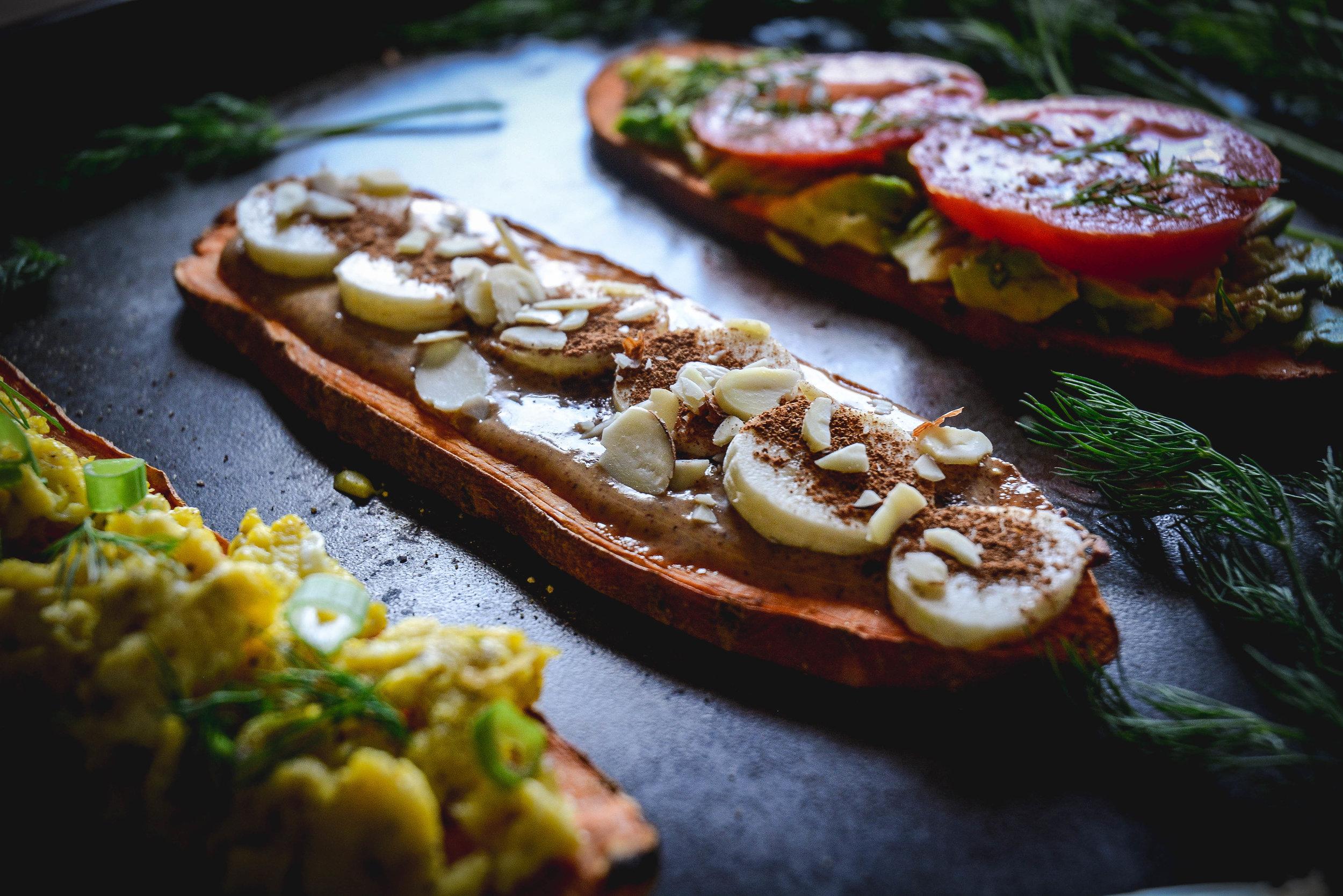 sweet potato toast, almond butter, banans, almonds and cinnamon, sweet potato toast with egg, sweet potato toast with avocado and tomatoes