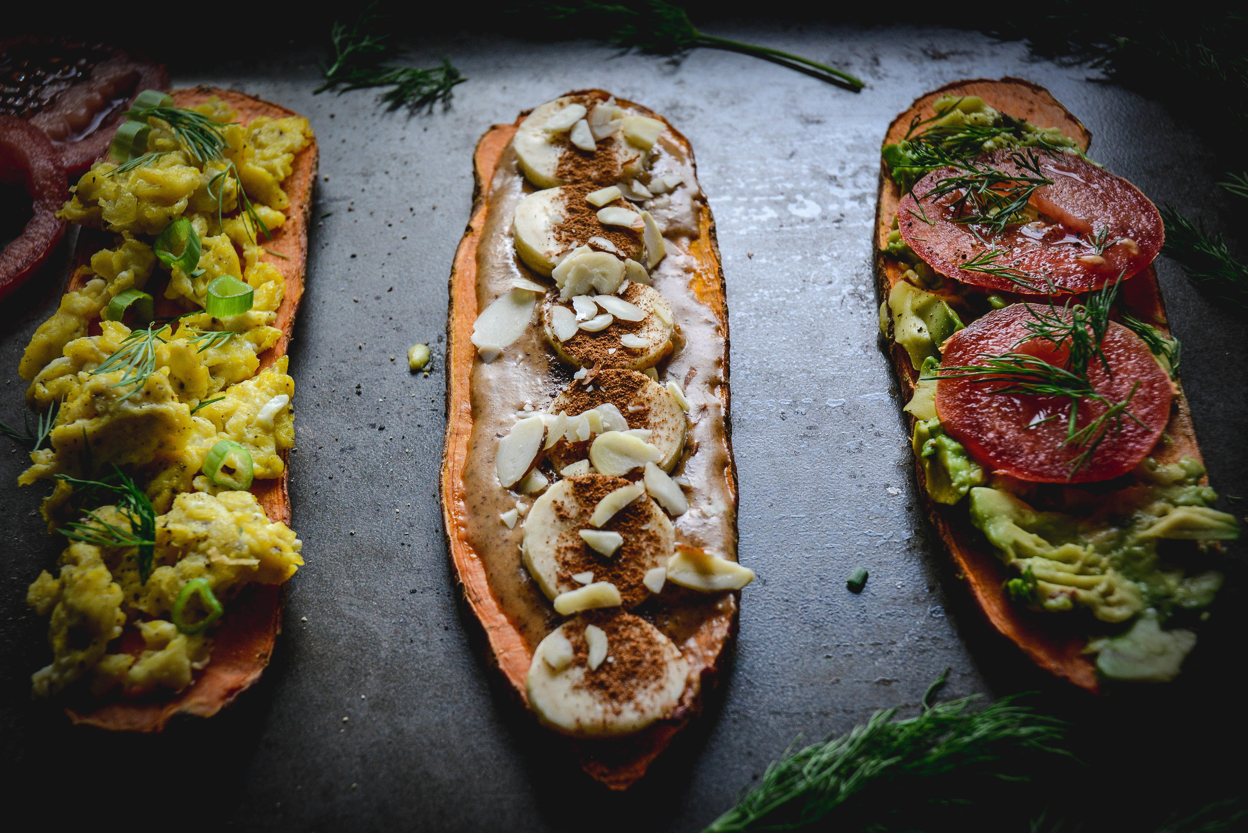 three pieces of sweet potato toast wtih toppings