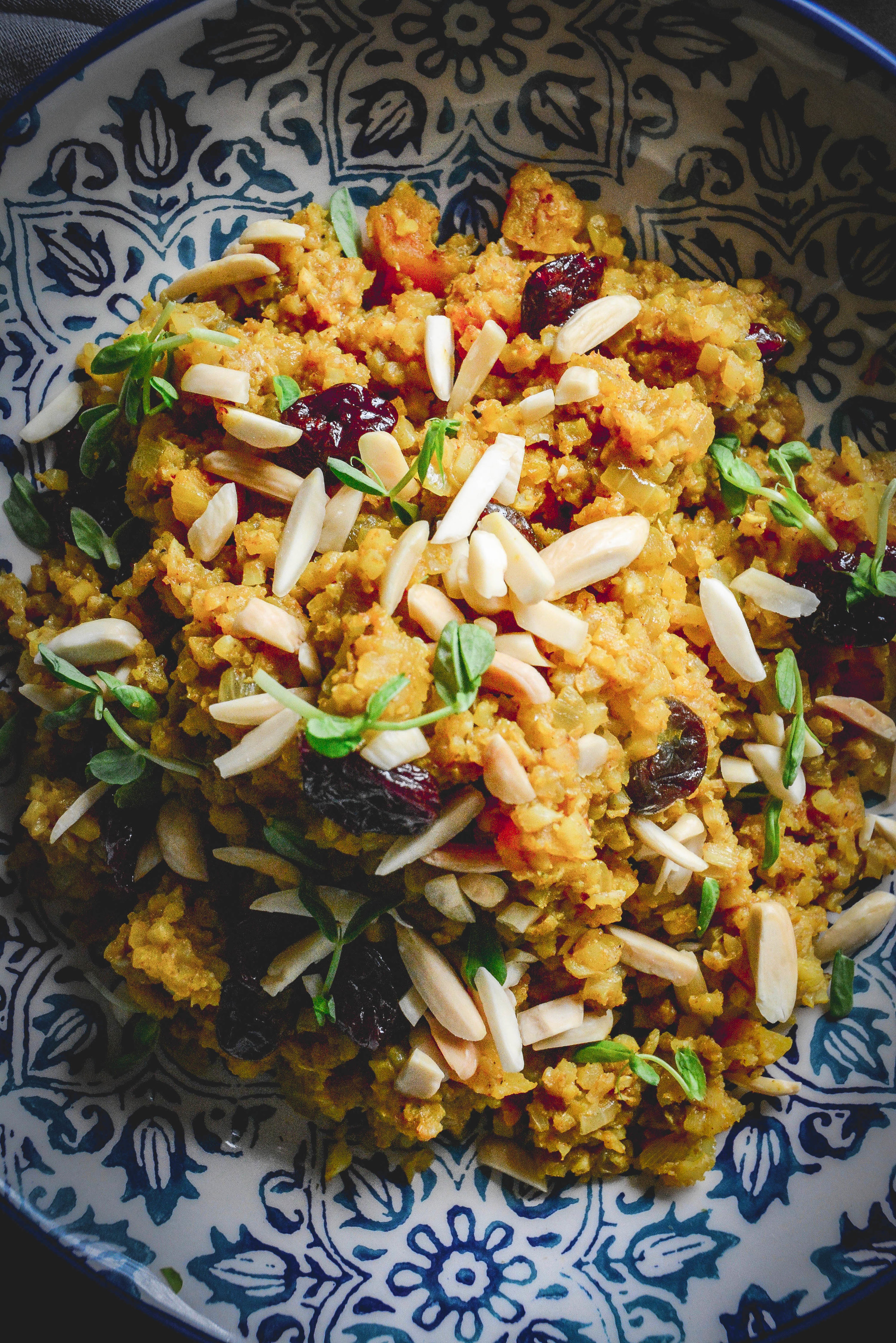 Cauliflower couscous with cherries and apricots