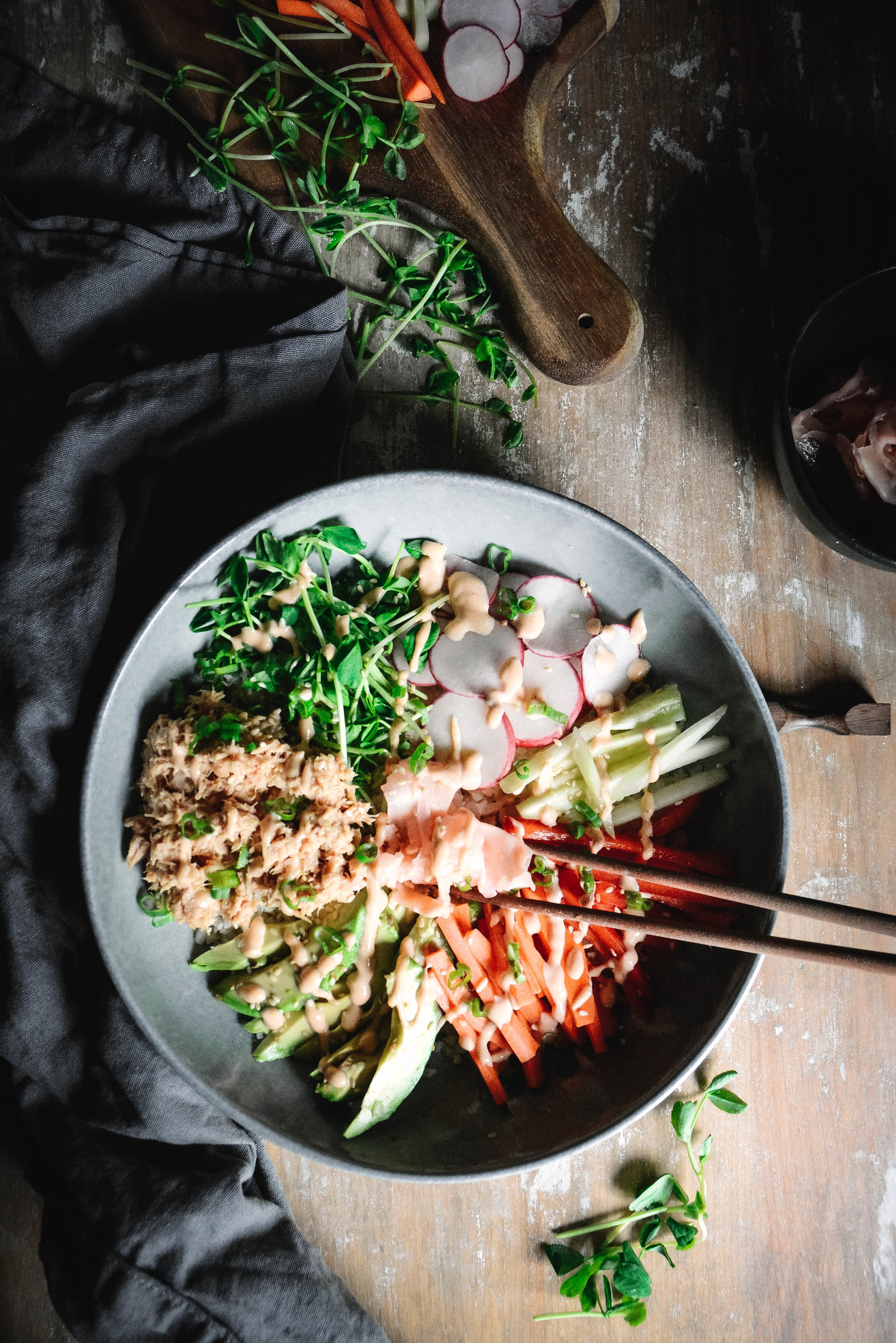 sushi bowl with vegetables