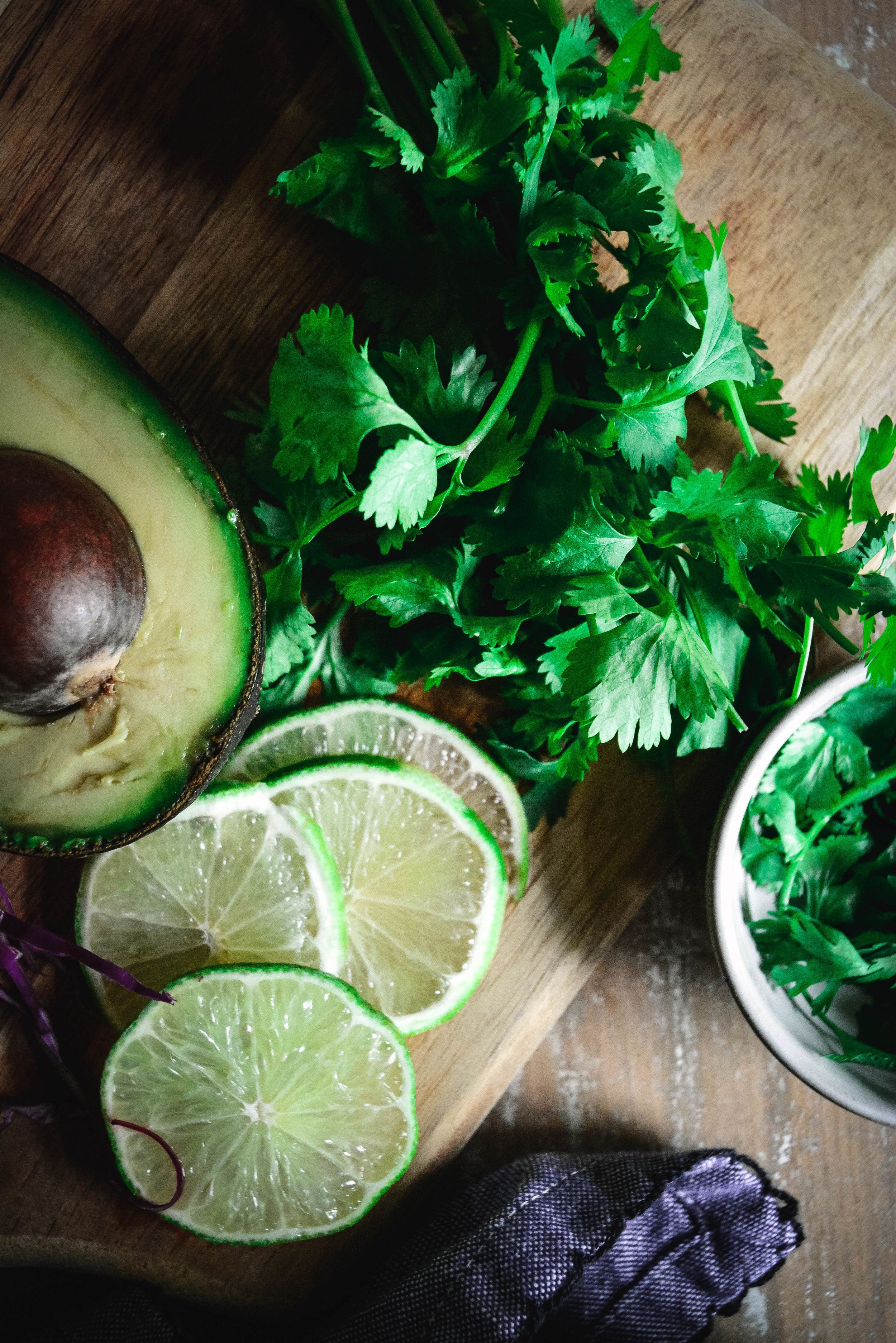 cilantro, lime and avocado