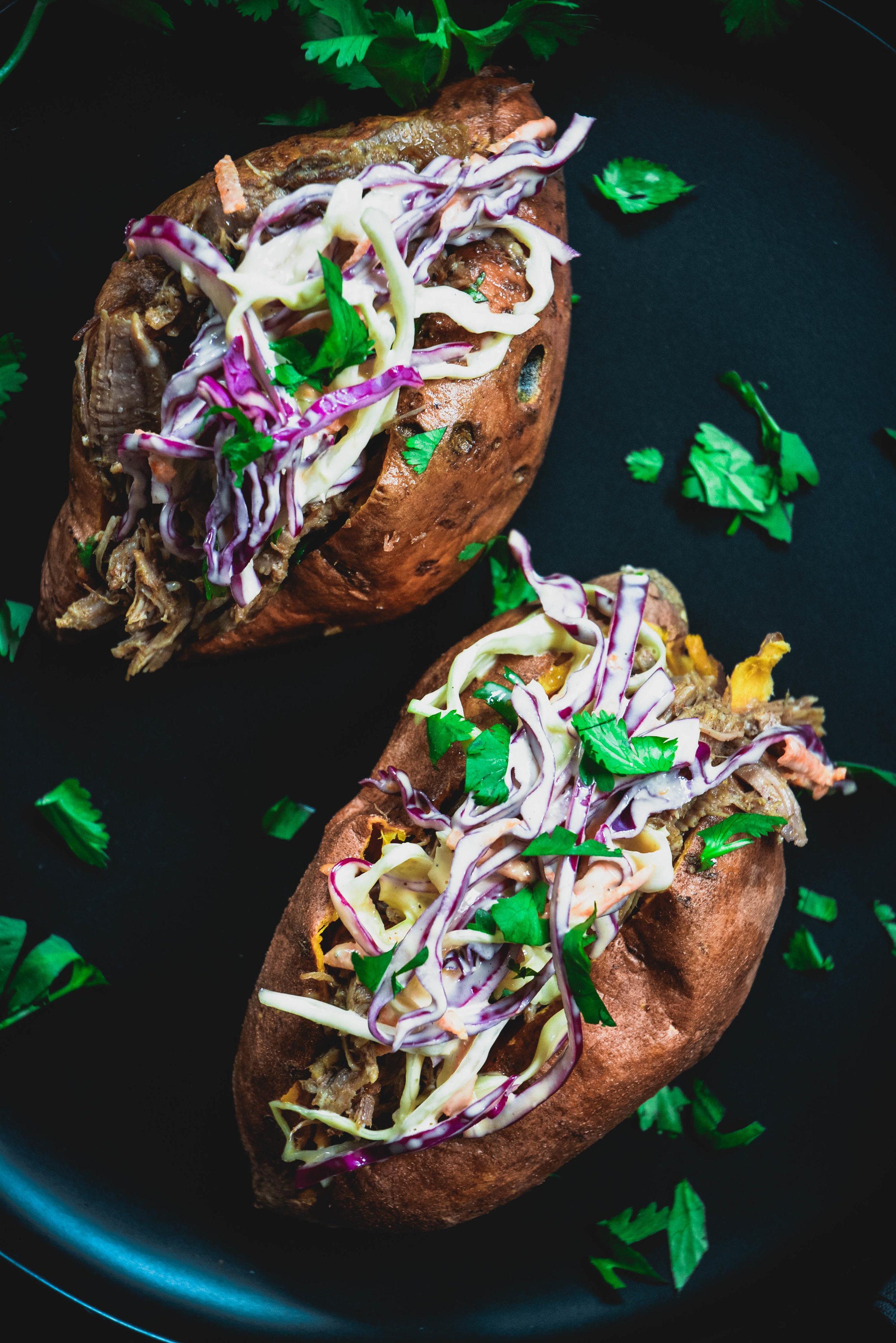 stuffed sweet potatoes with pulled pork and coleslaw