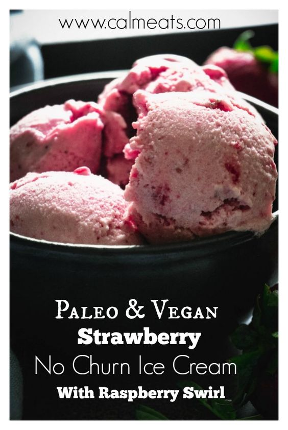 A paleo and vegan alternative to ice cream that will make you swoon! It's creamy, refreshing and perfect for hot summer months (or anytime). Check out this simple food processor ice cream that takes just minutes to make. #veganicecream, #calmeats, #paleoicecream, #strawberryicecream, #vegan, #paleo, #dessert, #healthy #healthyrecipes