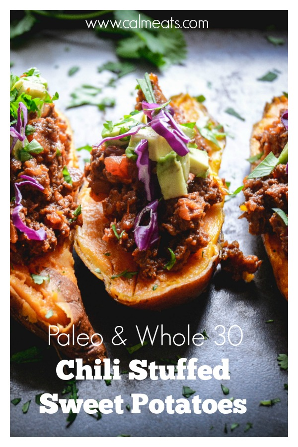 If you're looking for a meal that's sure to please everyone, try this paleo and whole 30 chili stuffed sweet potato recipe. Cocoa powder and cinnamon give this chili a sweet and sultry flavor. #chili, #sweetpotatoes, #chiclistuffedsweetpotatoes, #calmeats, #paleodinner, #whole30, #paleo, #paleochili, #whole30chili, #dinner, #glutenfree, #dairyfree