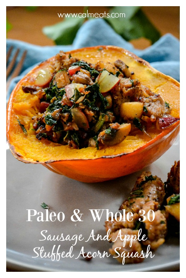 Stuffed acorn squash with sausage, apple, mushrooms, grapes and thyme. It's sweet, salty and simple to make. 30-40 minutes and you have a perfect meal for any night. #sausage, #whole30, #acornsquash, #fallrecipes, #calmeats, #dairyfree, #glutenfree, #paleo, #grainfree, #acornsquashrecipe, #dinnerrecipe