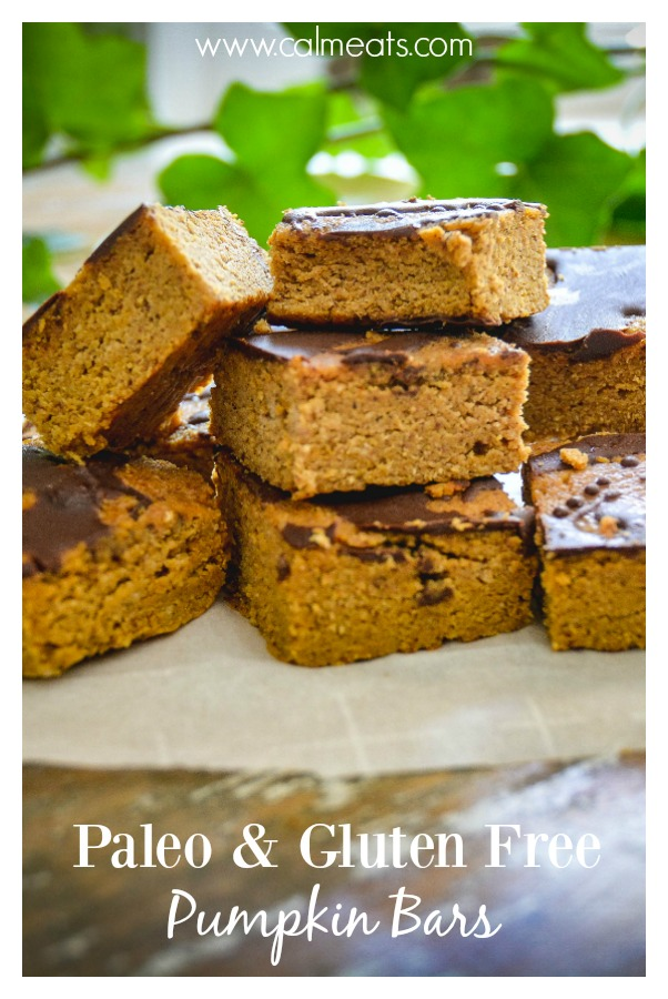 A delicious alternative to pumpkin pie, that's gluten and dairy free, paleo and oh so tasty. All the flavors of fall packed into one bite size bar. Oh, and there's chocolate involved! #paleo, #glutenfree, #paleodesserts, #glutenfreedesserts, #pumpkinbars, #pumpkin, #dairyfree, #calmeats, #paleopumpkindessert