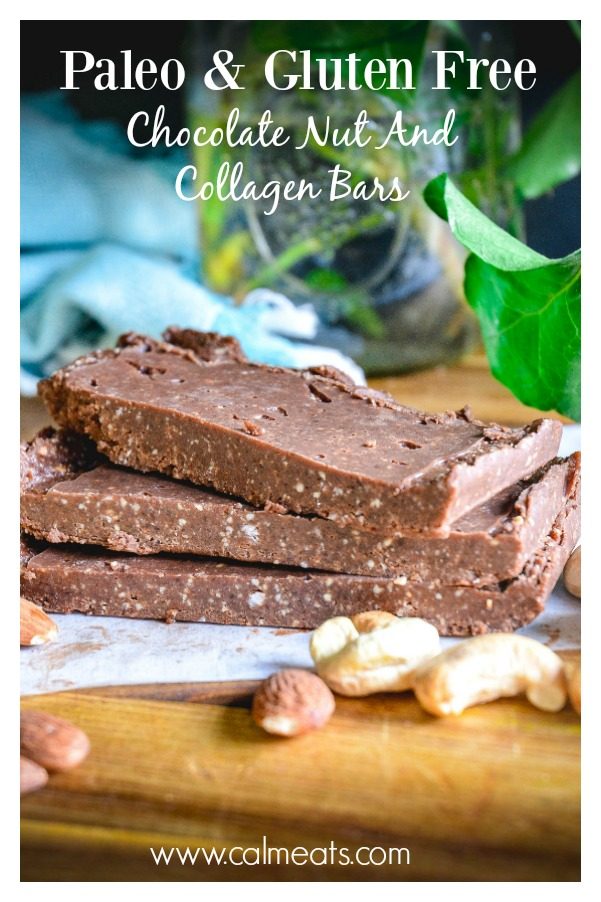 My version of Rx bars but amplified with collagen and coconut oil or coconut butter. You just need nuts, cocoa, cacao nibs (optional), dates and collagen. It's a great energy bar if you're looking for a paleo snack. #rxbars, #paleobars, #collagenbars, #collagenchocolatebars, #glutenfreedessert, #chocolate, #calmeats