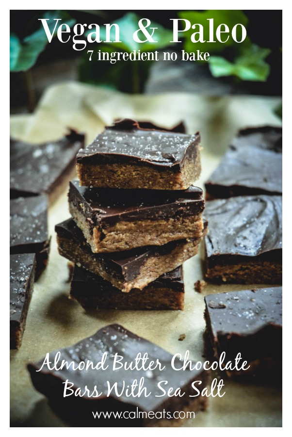 Here's a delicious 7 ingredient no bake vegan and paleo almond butter chocolate bar recipe with sea salt. They much remind me of peanut butter cups but in healthier and more nutritious form. #dessert #vegan #paleo #vegetarian #chocolatebars #chocolatealmondbars #seasalt #chocolateseasalt #paleodessert #sweets #nobake #vegandesserr