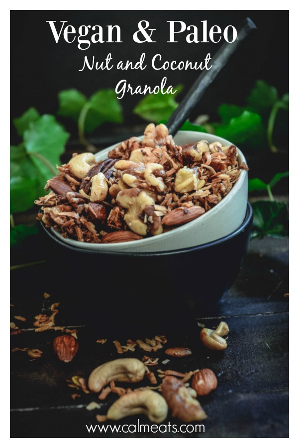If you follow a mostly paleo diet and miss granola, try this gluten free, paleo and vegan version that's sure to satisfy your crunchy craving. #paleo #granola #calmeats #vegan #glutenfreegranola #vegetarian #paleofood #realfood #breakfast #snack