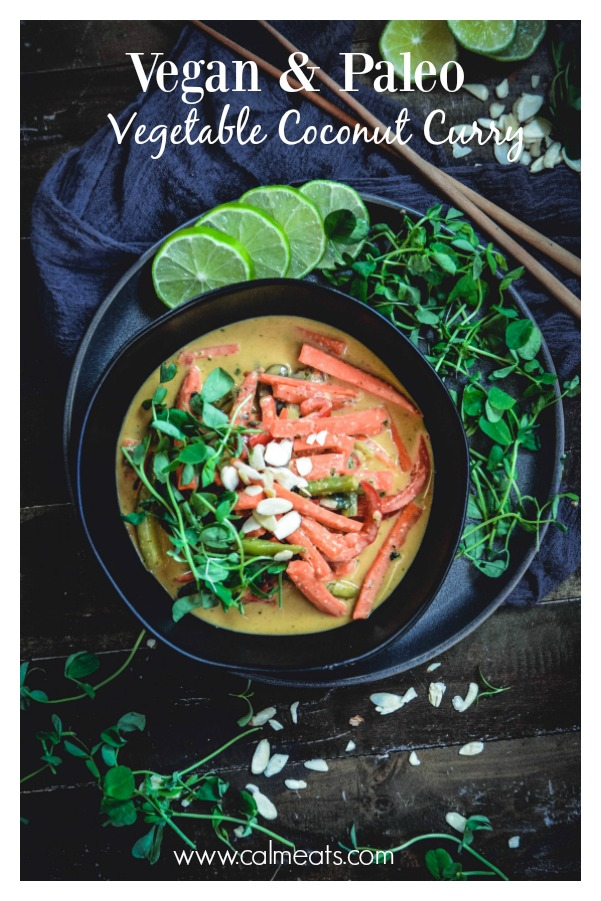 This is an easy vegan and paleo Thai inspired vegetable coconut curry you can whip up in just 15 minutes. So if you're in the mood for a fresh and delicious curry, check this one out! #curry, #thaicurry #vegancurry #thaicoconutcurry #calmeats #paleocurry #coconutmilk #vegetables #realfood #glutenfree #dairyfree #vegetarian #grainfree #thaicurry #thaifood #takeout