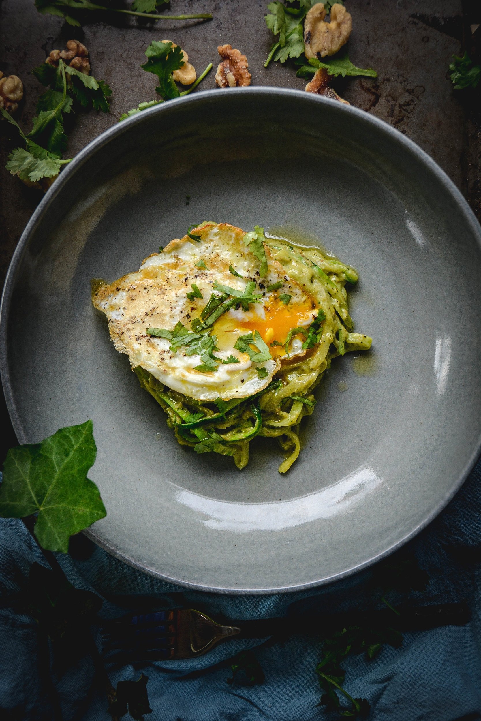 zoodles with avocado pesto and egg