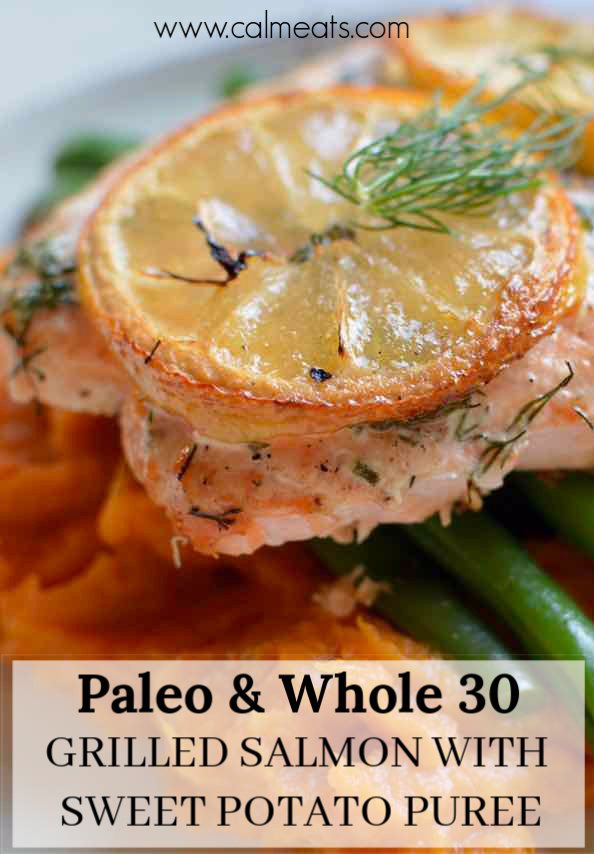 Make the perfect salmon every time by throwing it on the grill with simple seasonings. Pair it with a creamy sweet potato puree and crunchy green beans, and you have yourself a perfect paleo and whole 30 meal. #salmon, #sweetpotatoes #greenbeans #calmeats #paleodinner #paleorecipes #whole30recipes #whole30food #salmonrecipes #weeknightdinner #salmonbenefits #nutrition #guthealth #realfoodrecipes #paleofood #cleaneating #healthyrecipes #cleaneatingrecipes