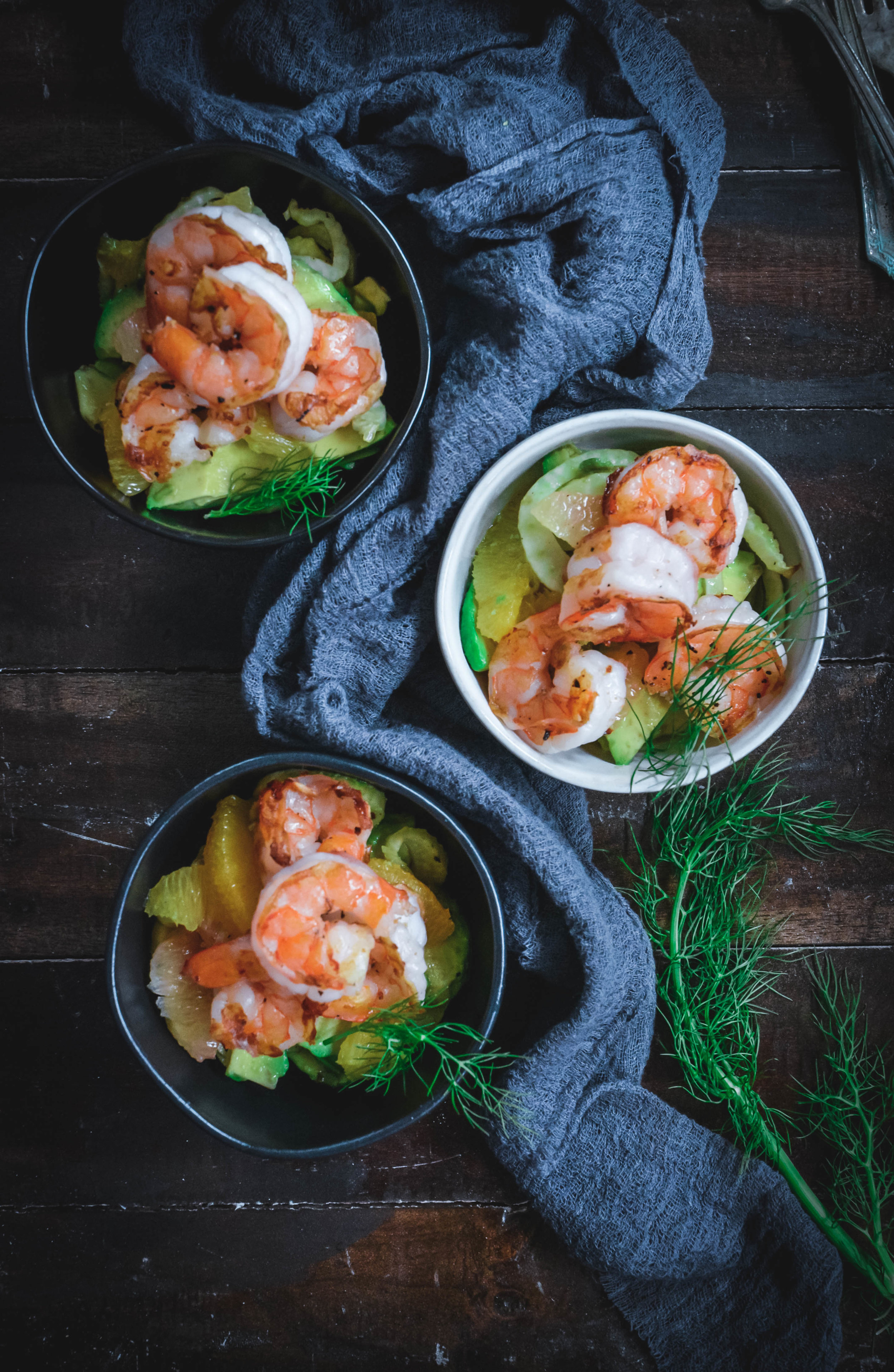 fennel, avocado, citrus and shrimp salad