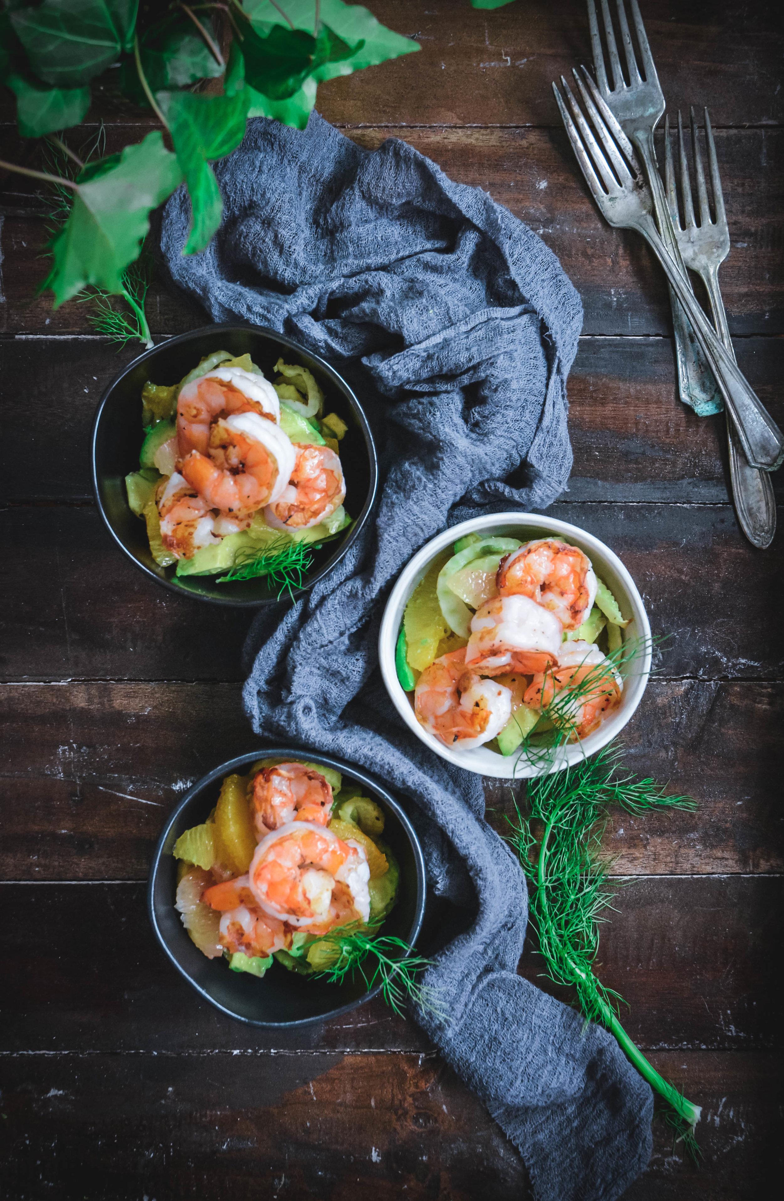 fennel, avocado, citrus and shrimp salad