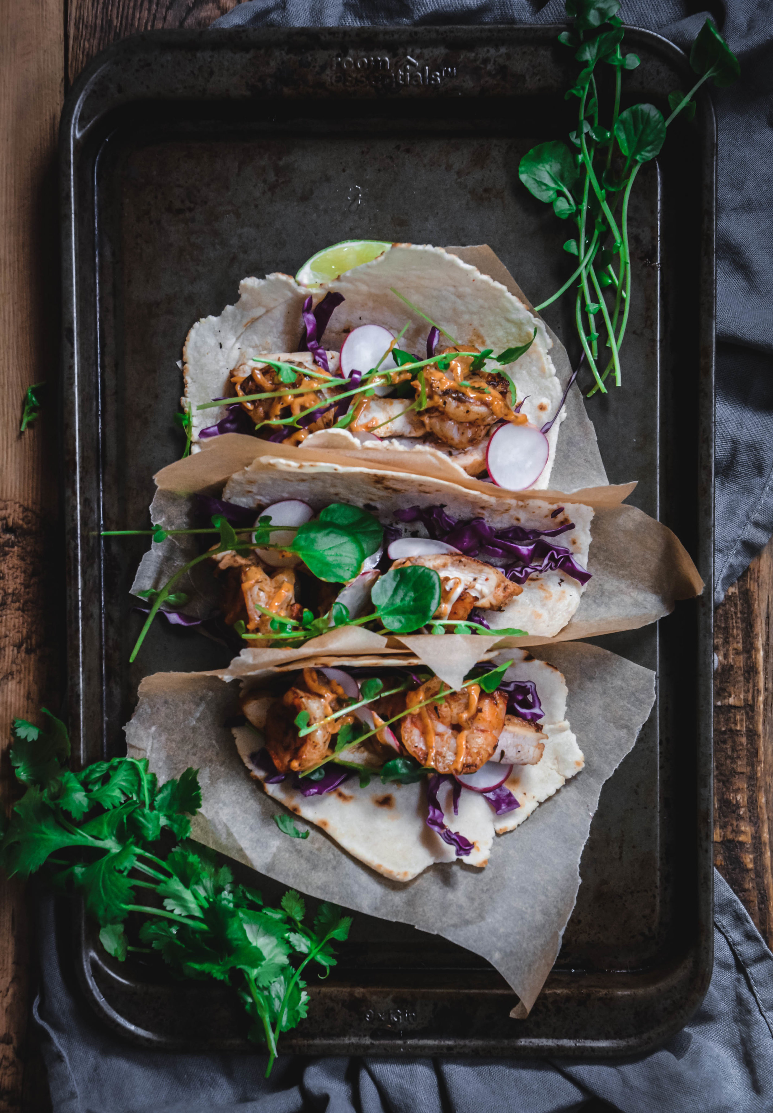 jerk chicken and shrimp tacos