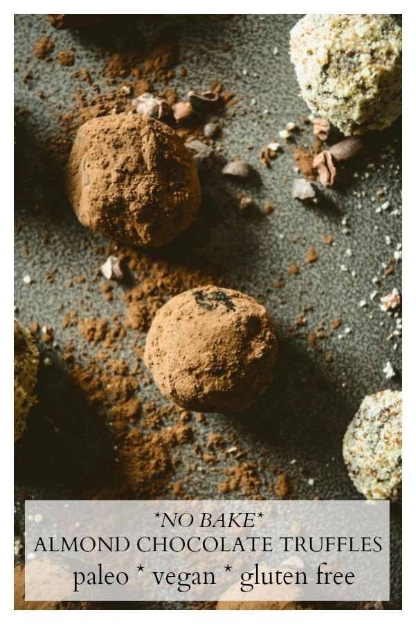 When you're in the mood for chocolate, why not make it healthy? These almond crusted chocolate truffles are made with whole ingredients - cocoa, honey, coconut and almond butter, vanilla extract and a pinch of honey. They're vegan, dairy free, gluten free and paleo. #calmeats, #paleochocoate, #chocolatetruffles, #vegandessert, #paleodessert, #glutenfreedessert, #dairyfreedessert #truffles #paleofood #sweets #treats #desserts #healthydesserts #healthytreats #healthytruffles