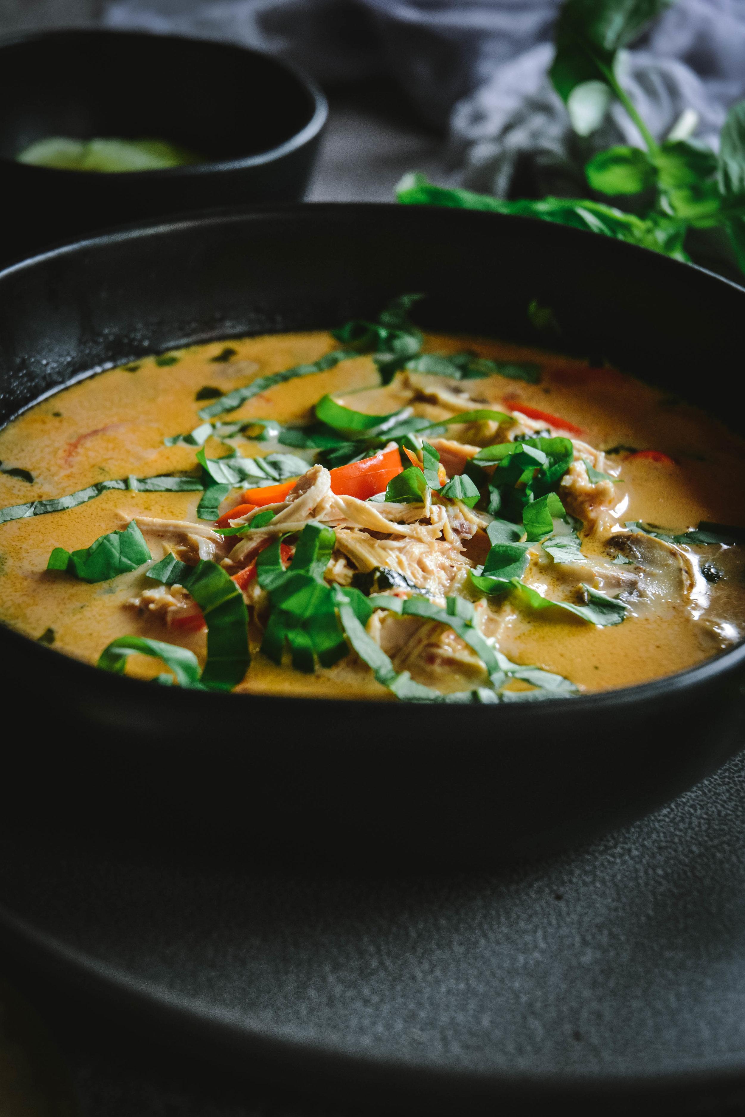 thai coconut soup in bowl