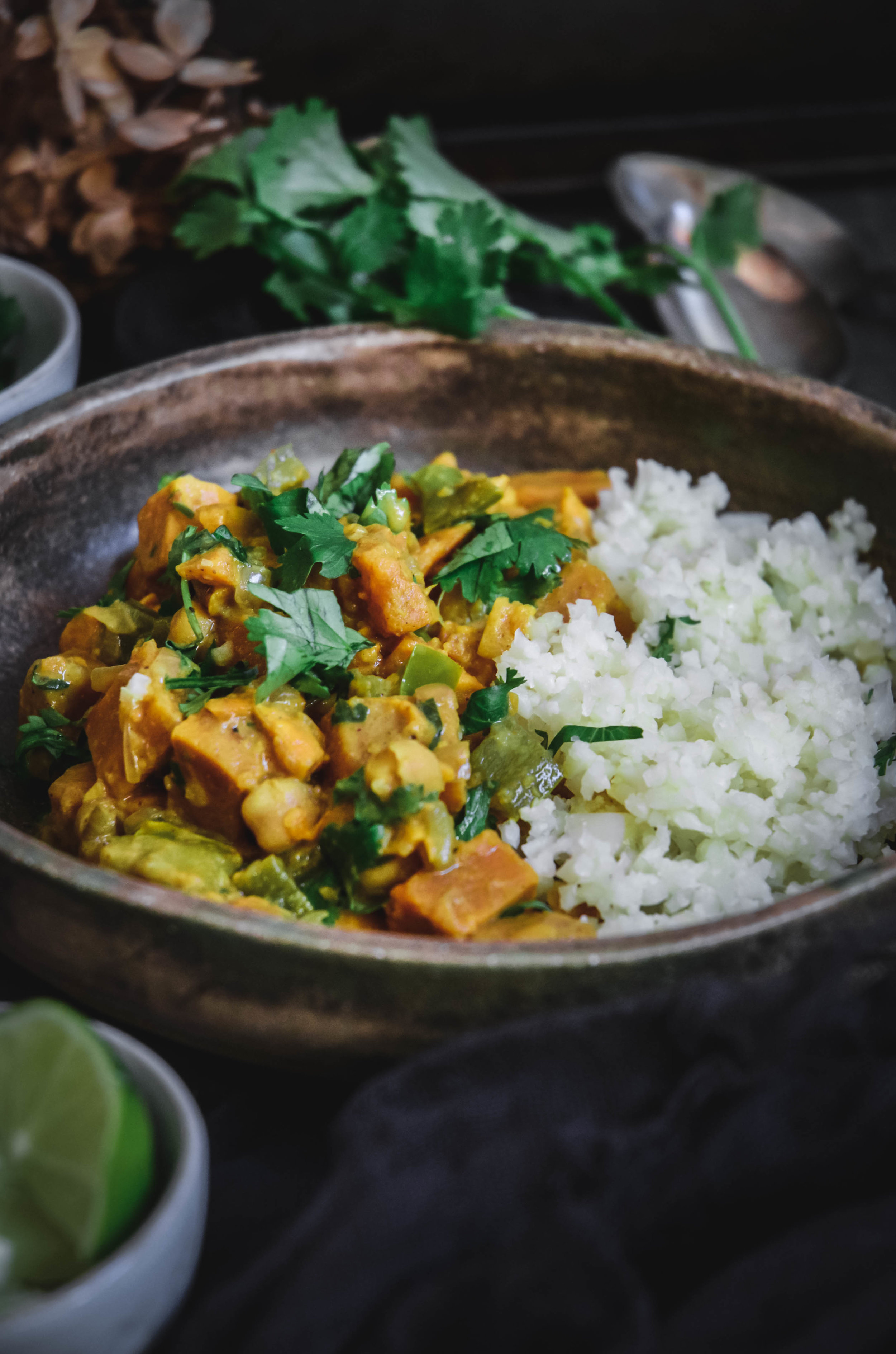 coconut chickpea curry with sweet potatoes