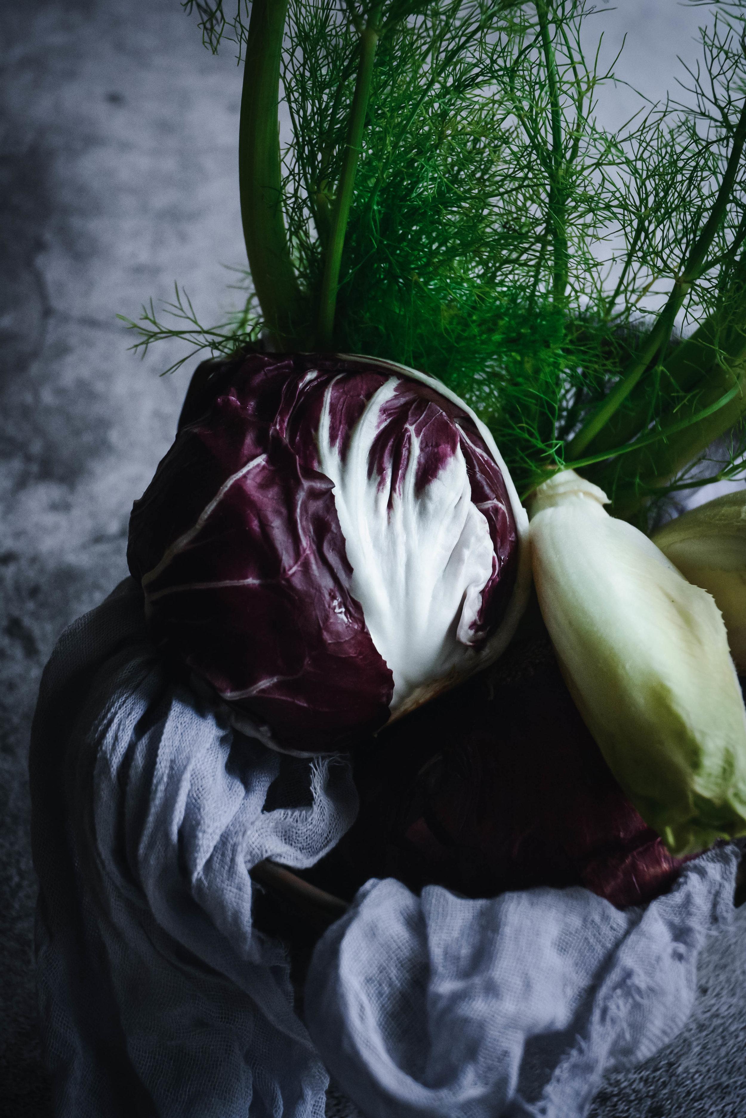 Radicchio, endive and fennel on napkin
