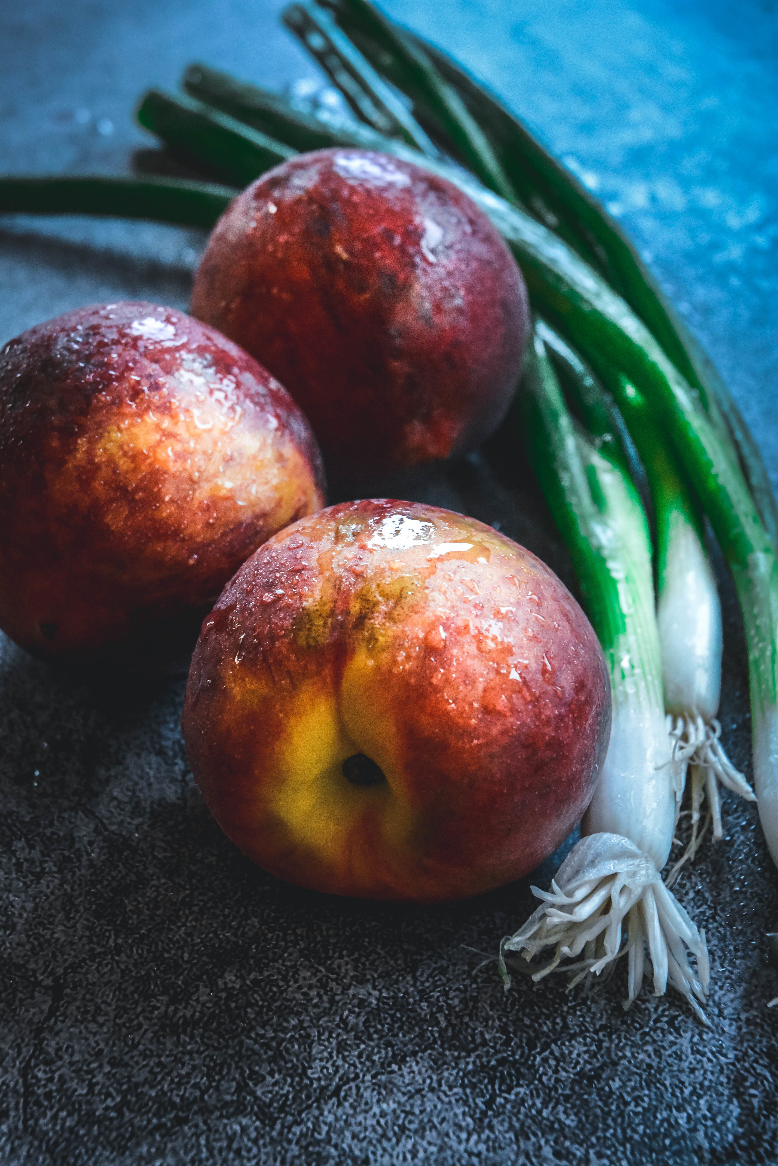 scallions and peaches