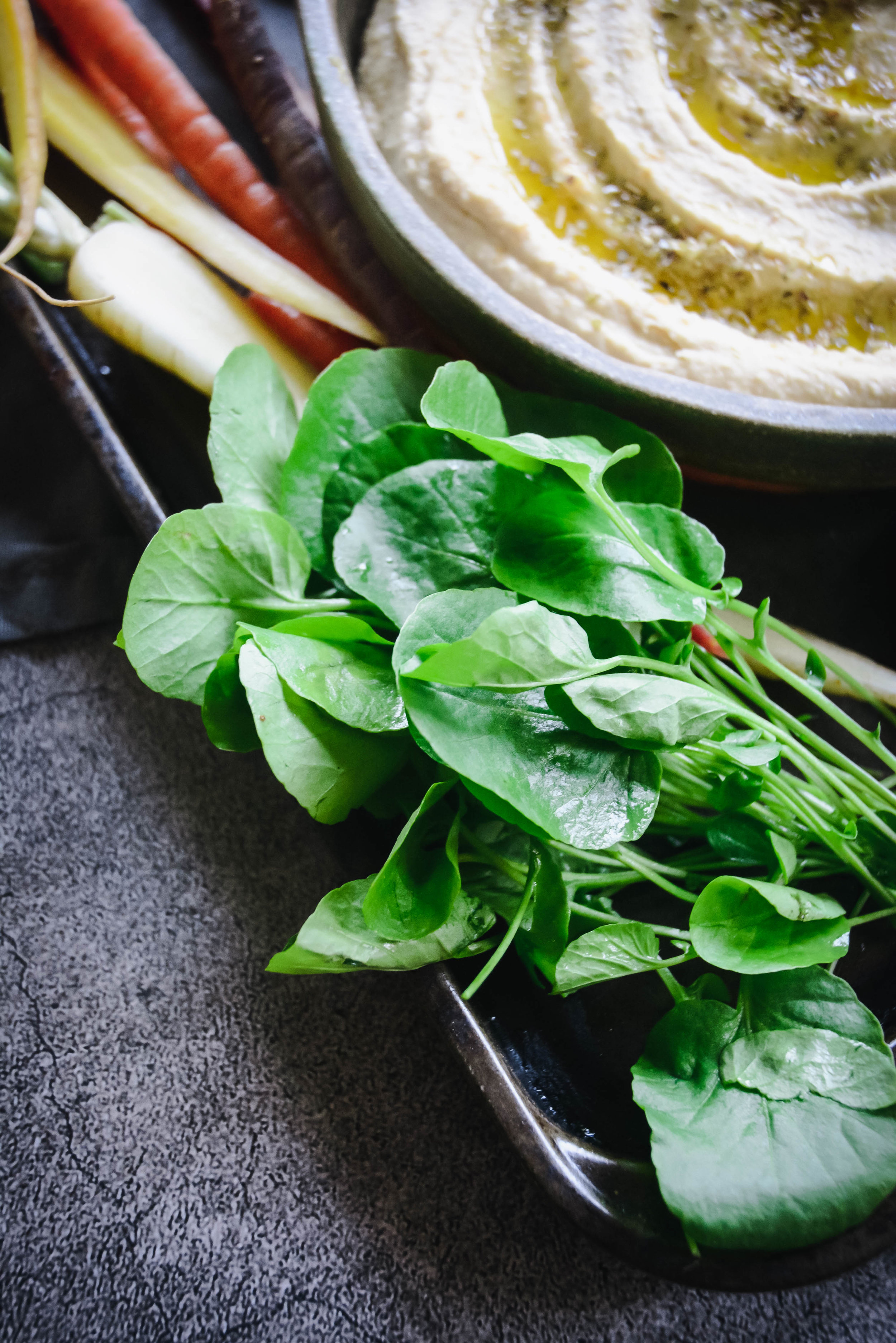 greens and hummus