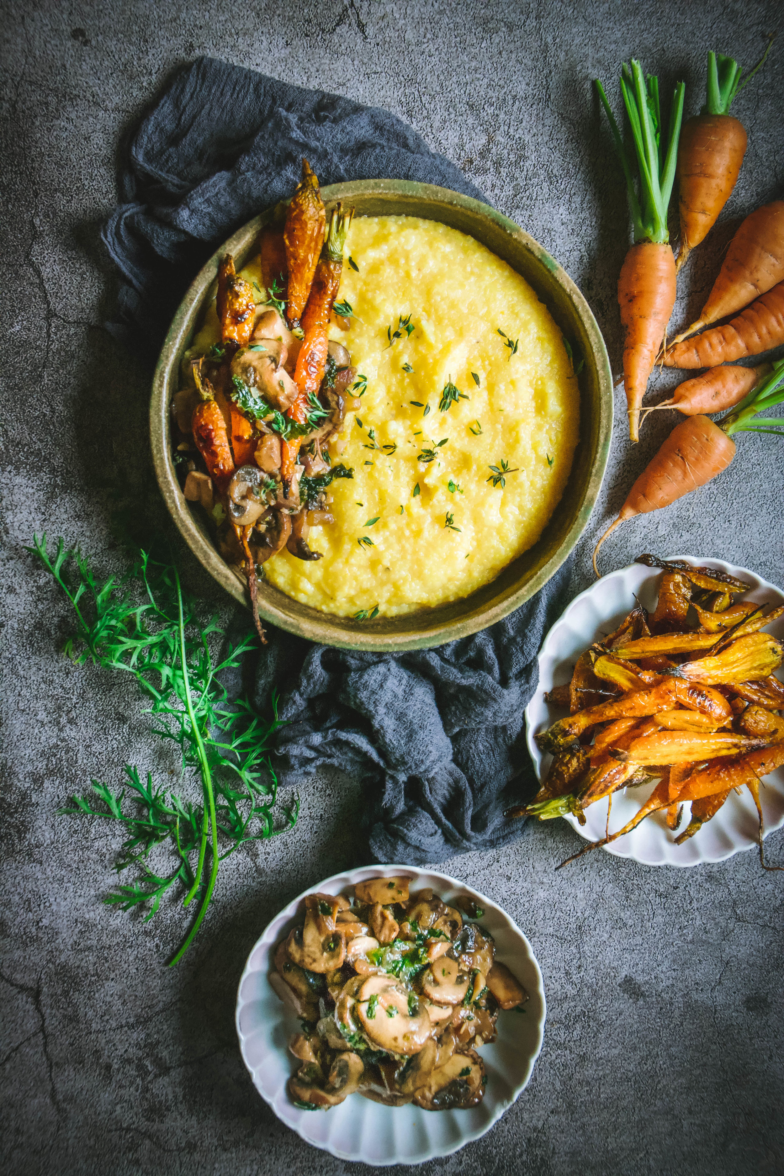 polenta with mushrooms, kale and roasted carrots