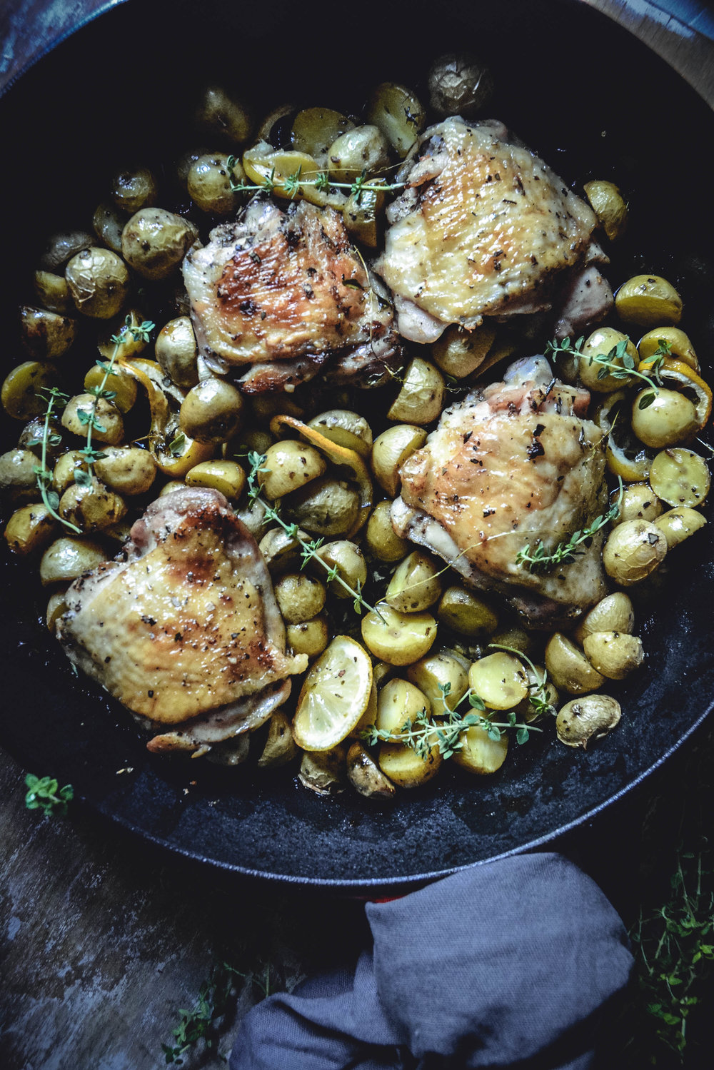 one pan greek lemon chicken with baby potatoes