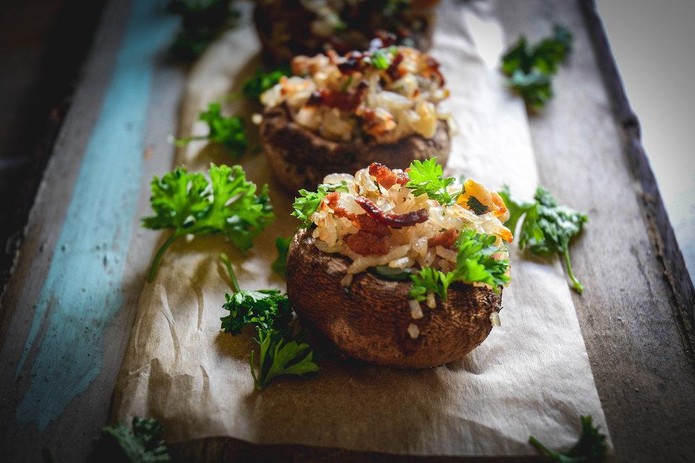 stuffed mushrooms with rice, walnuts, bacon and raisins