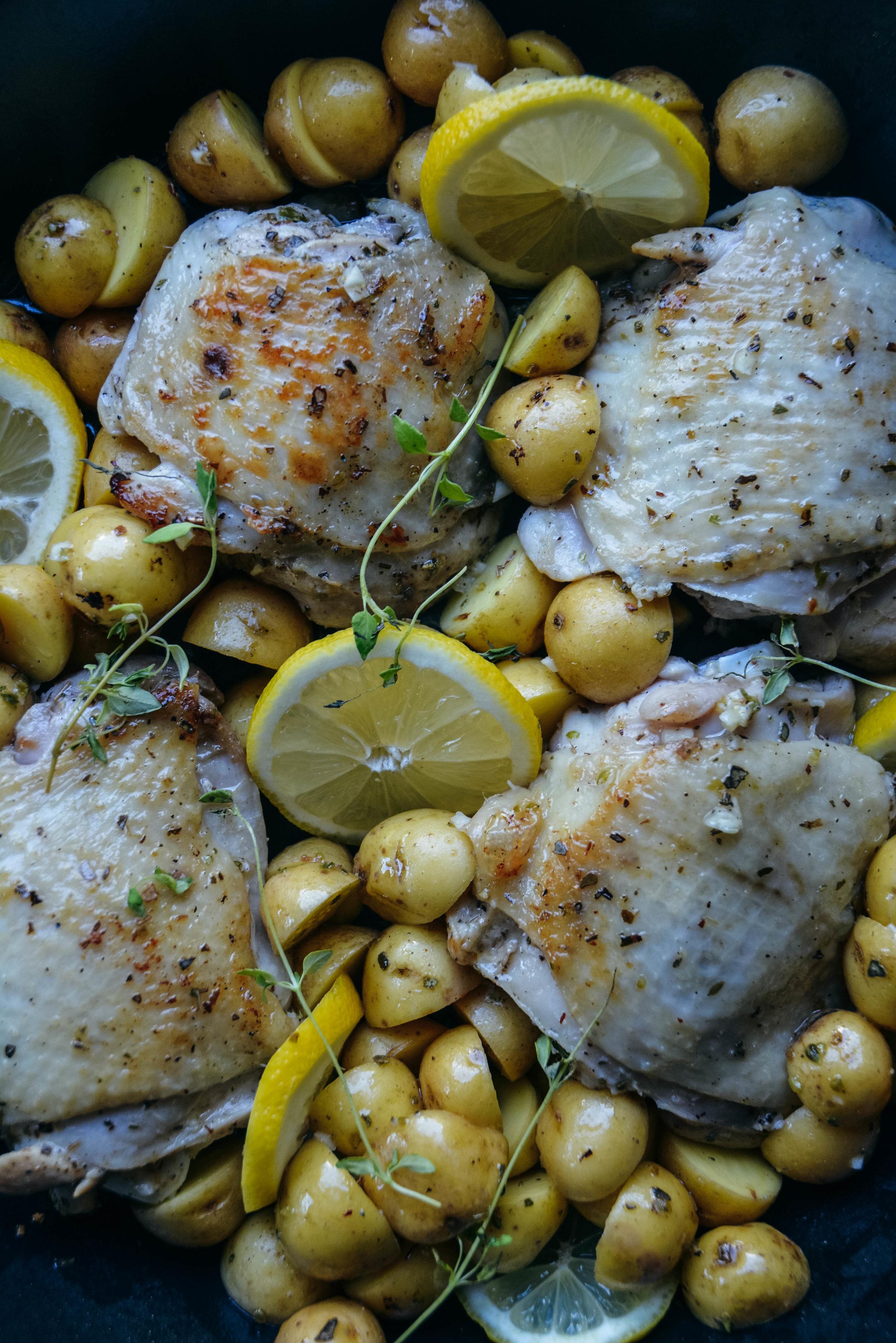 Chicken, lemon, baby potatoes
