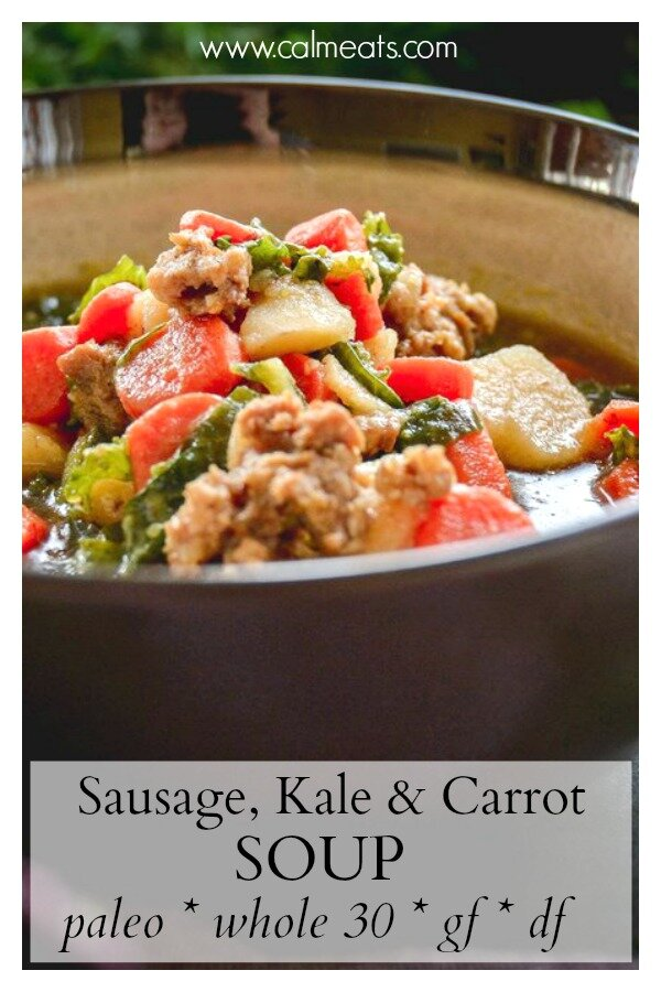 Soup is amazing anytime of the year but I find it to be particularly so when the weather gets cooler and the body just needs that extra warmth. This sausage, kale, potato and carrot soup is the perfect solution for when you want a little something hearty and warming. It's whole30 with paleo option and 100% delicious. #soup, #whole30, #paleo, #paleosoup, #whole30soup, #calmeats, #glutenfree, #dairyfree, #realfood, #fall, #kale, #sausage
