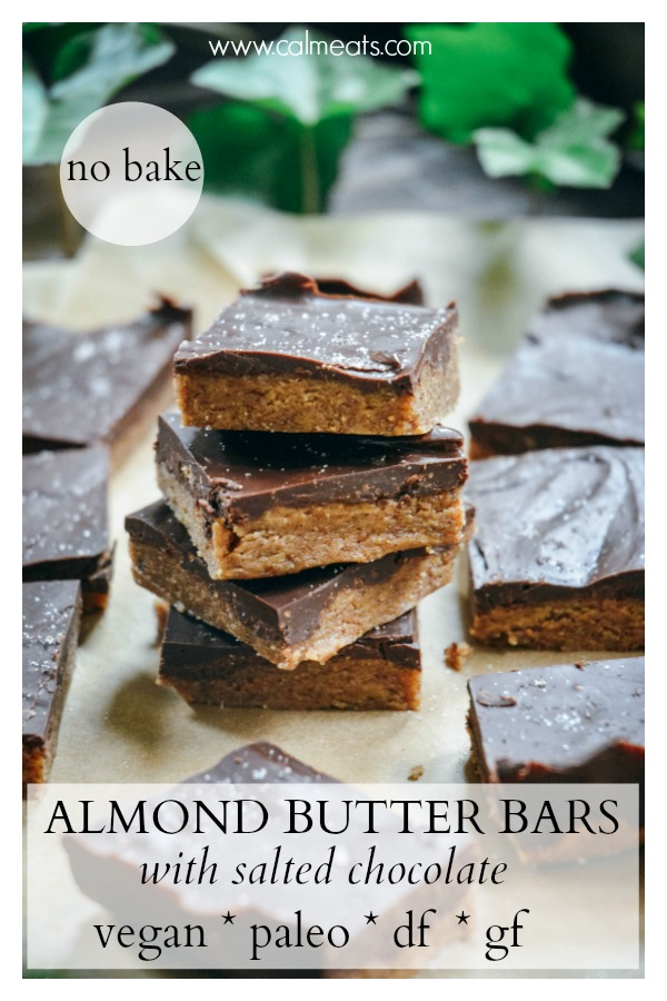 Here's a delicious 7 ingredient no bake vegan and paleo almond butter chocolate bar recipe with sea salt. They much remind me of peanut butter cups but in healthier and more nutritious form. Check out this simple recipe for yourself! #dessert #vegan #paleo #vegetarian #chocolatebars #chocolatealmondbars #seasalt #chocolateseasalt #paleodessert #sweets #nobake #vegandessert #nobakedessert #easydessert #dairyfreedessert #veganchocolate