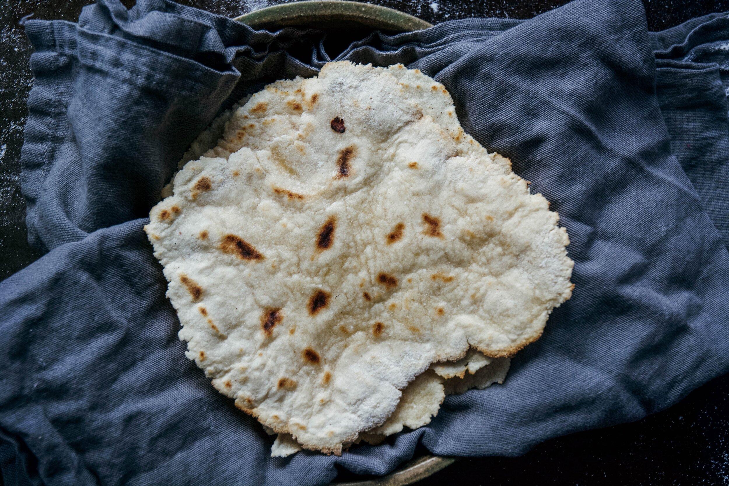 tortillas on napkin