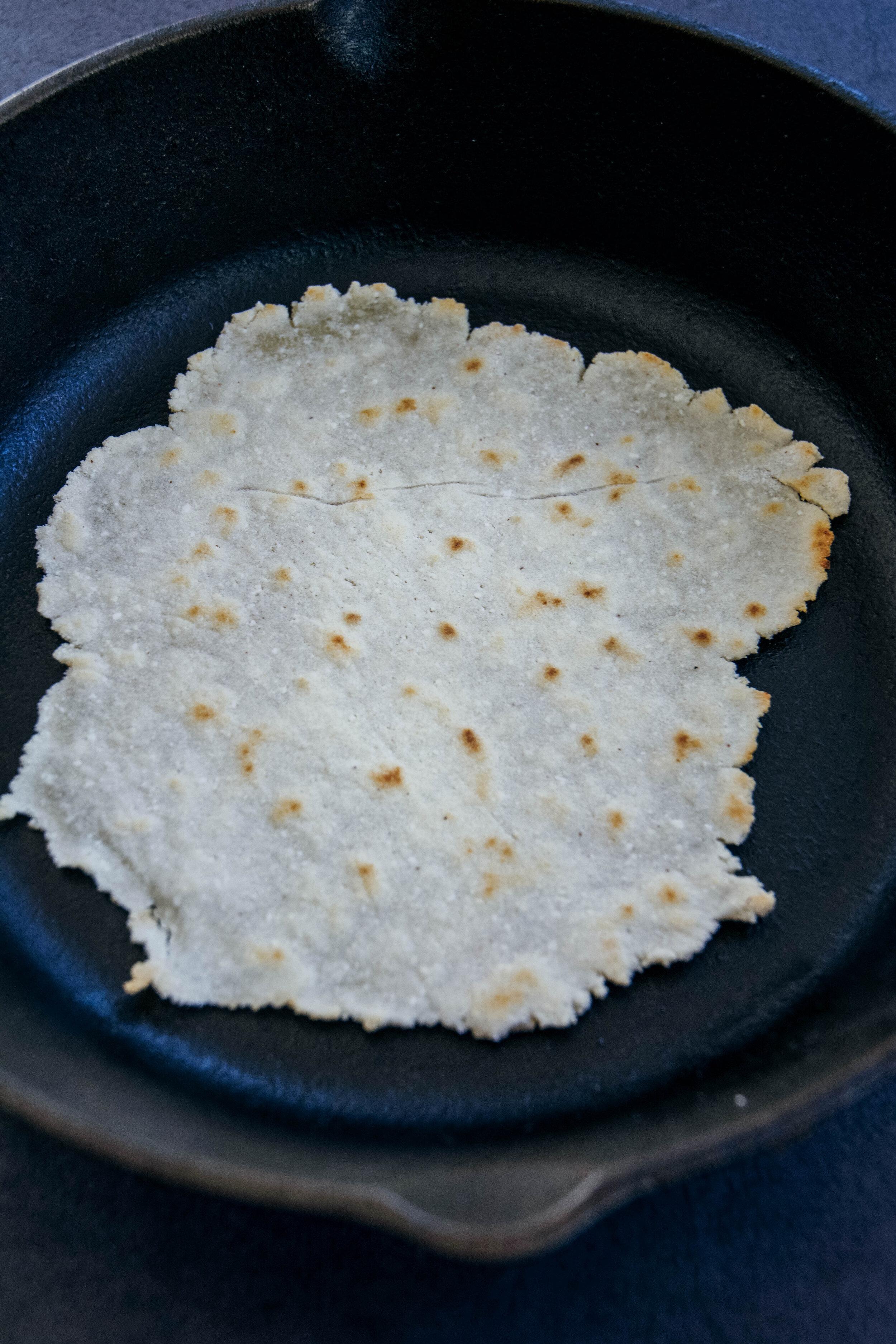 paleo tortilla in skillet