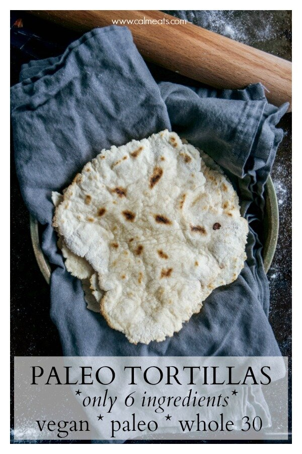 Making paleo tortillas is incredibly easy and fun! All you need is cassava flour, coconut flour, water, apple cider vinegar, olive oil and salt. And no tortilla maker needed! A little wax paper will do the trick. So check out this 6 ingredient paleo tortilla recipe. #cassava #cassavatortillas #paleotortillas #paleo #whole30tortillas #calmeats #vegantortillas #vegantacos #paleotacos #tortillas #tortillarecipe #whole30 #vegan