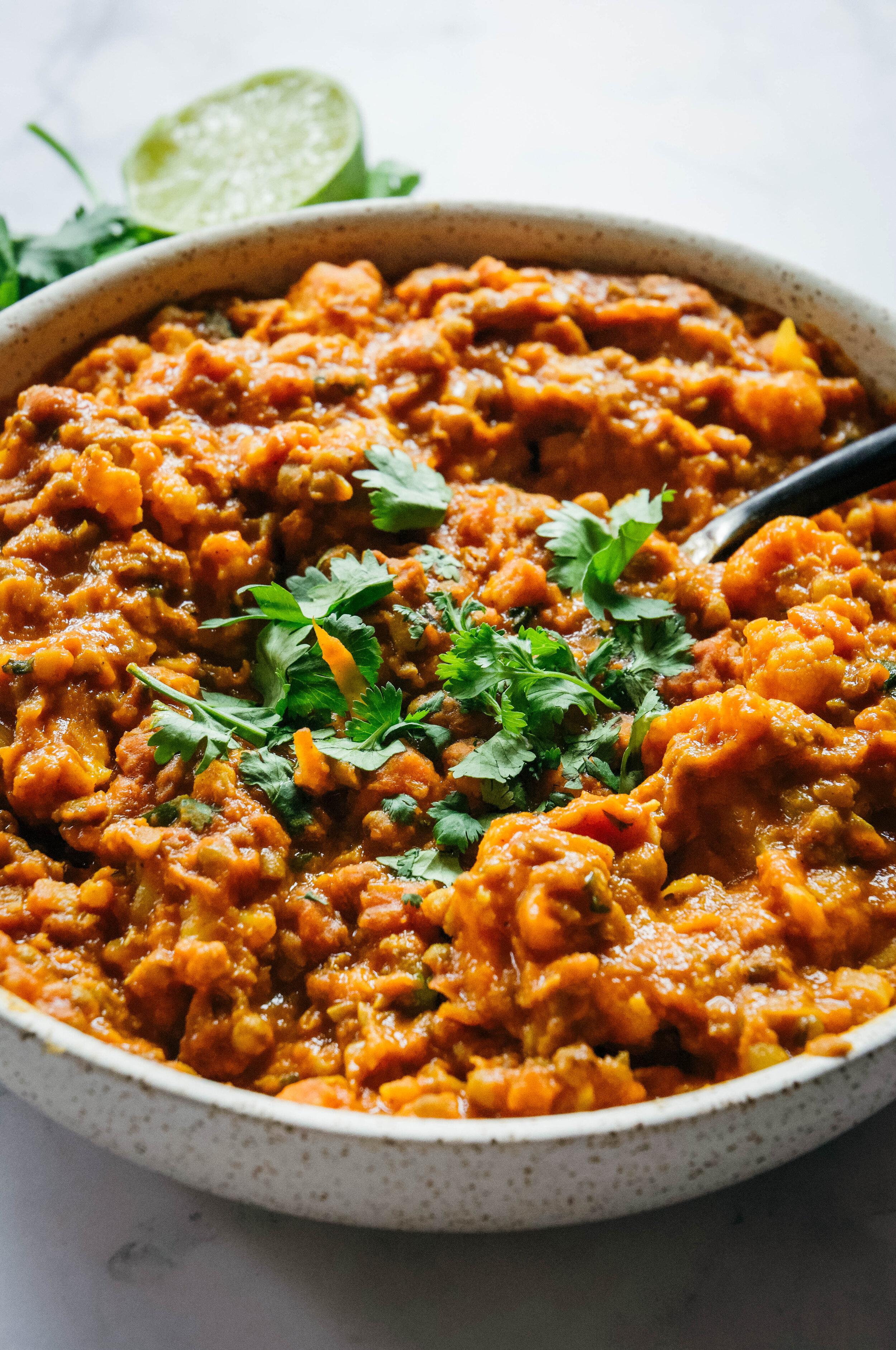 mung bean curry in bowl