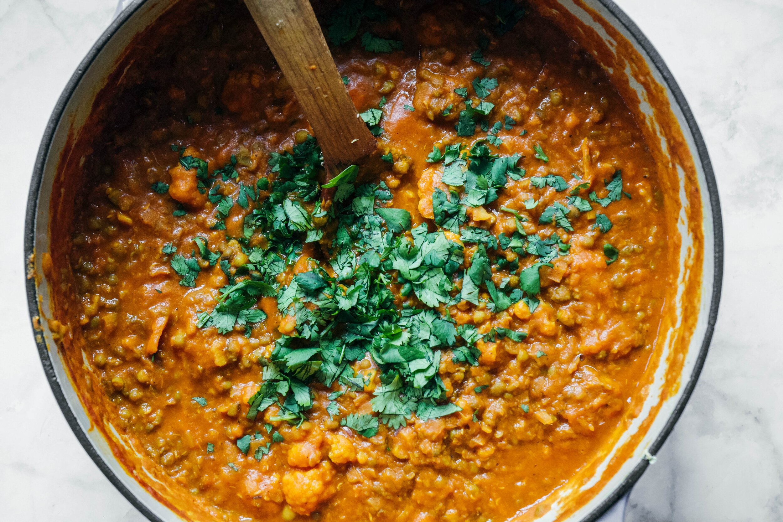 Mung bean curry in pot