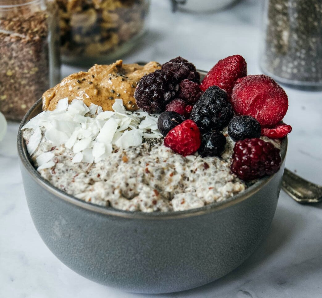Overnight paleo oatmeal is a great alternative for those following a grain free lifestyle who are looking for that oatmeal feel. Try a warm bowl for yourself! #paleooatmeal #overnightpaleooatmeal #grainfreeoatmeal #whole30oatmeal #gainfreebreakfast #paleobreakfast #calmeats #glutenfree #dairyfree #paleo #whole30