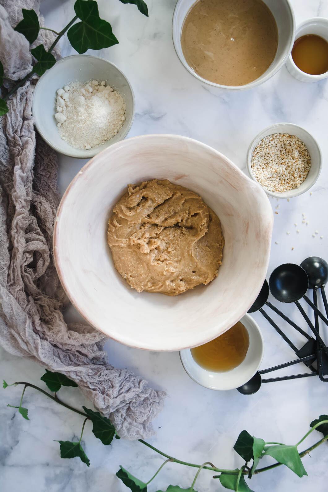 Peanut Butter Sesame Balls mixture in bowl