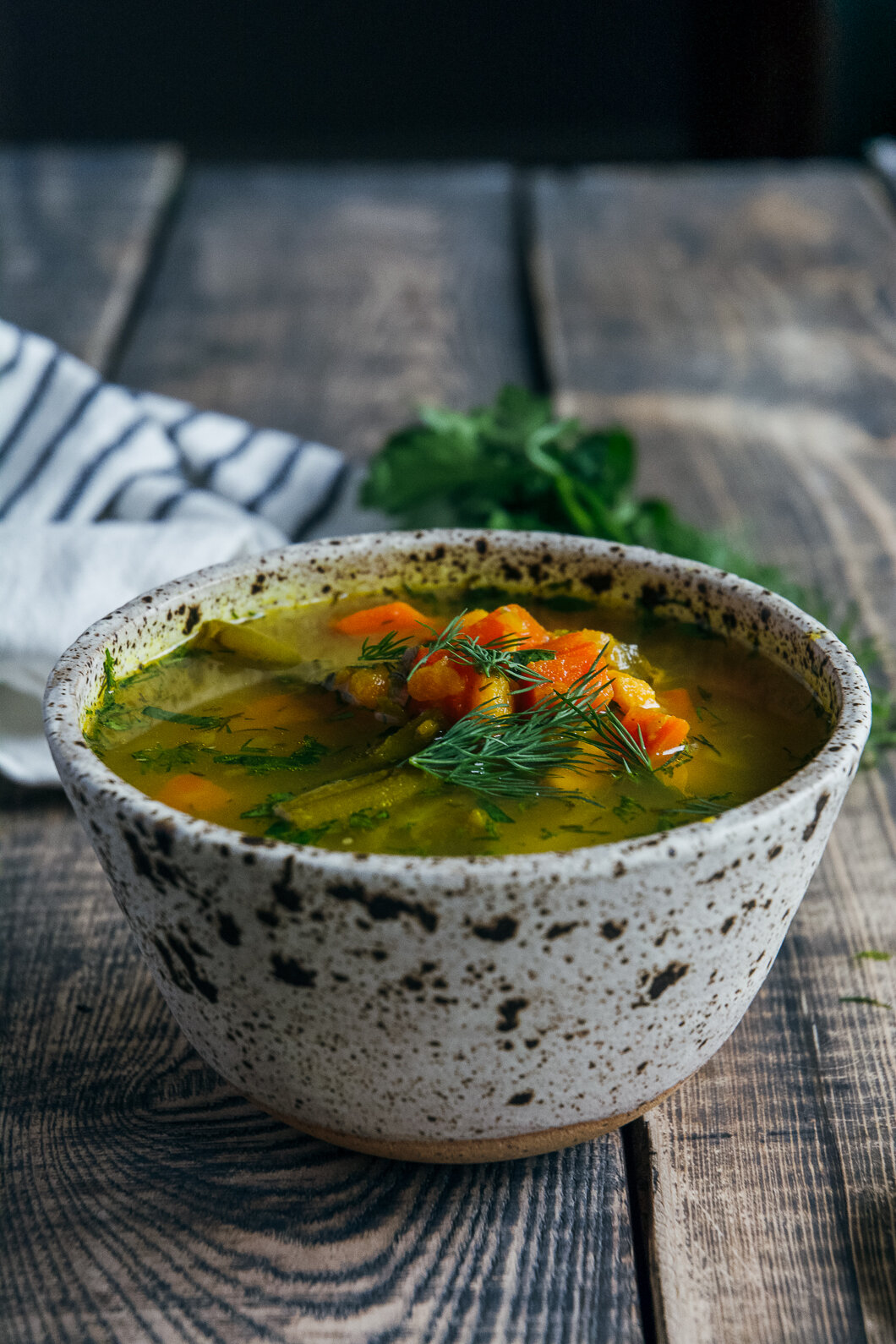 sweet potato soup with cilantro and almonds