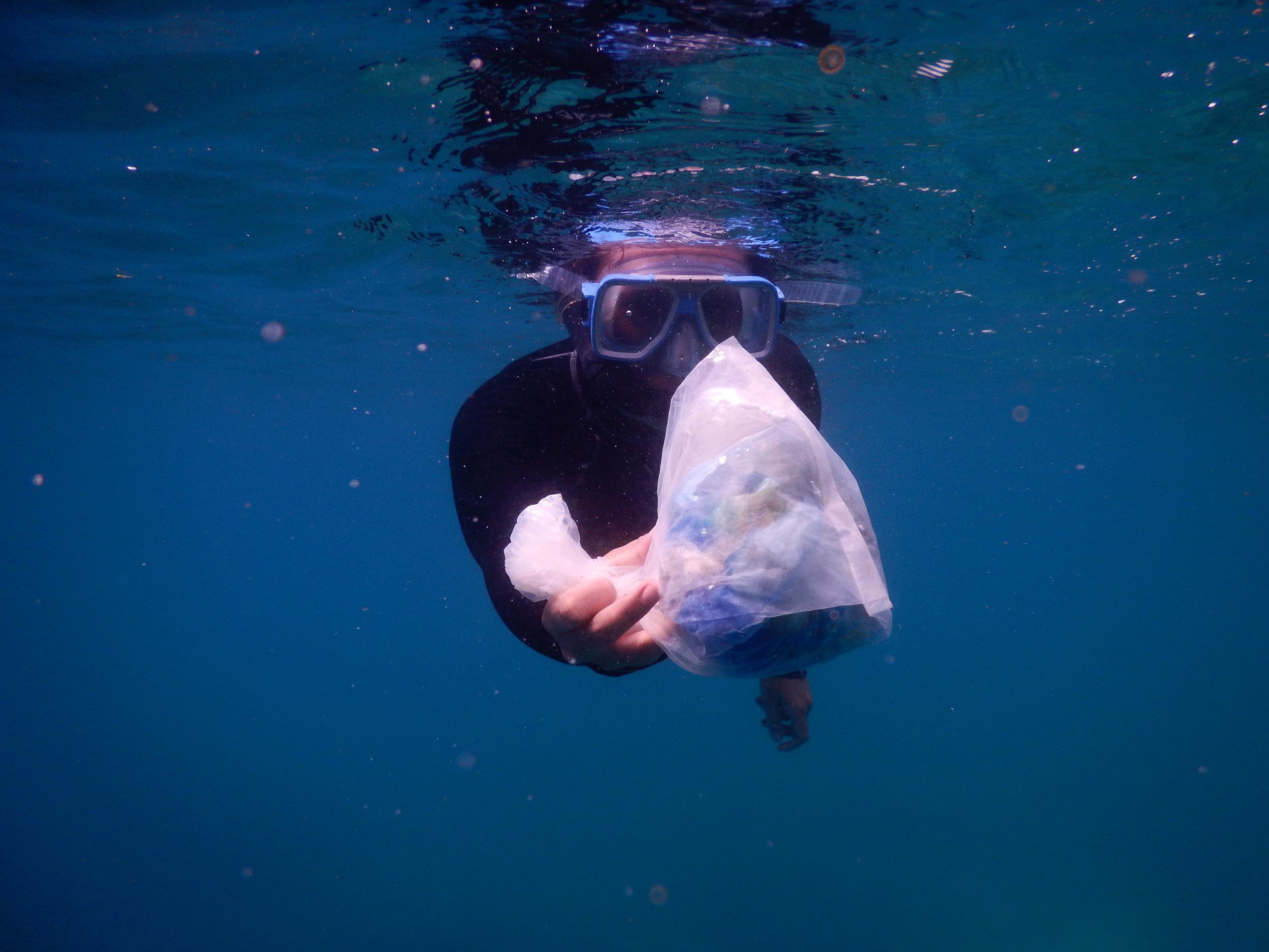A handful of marine debris found in Lambug Beach, Badian, Cebu